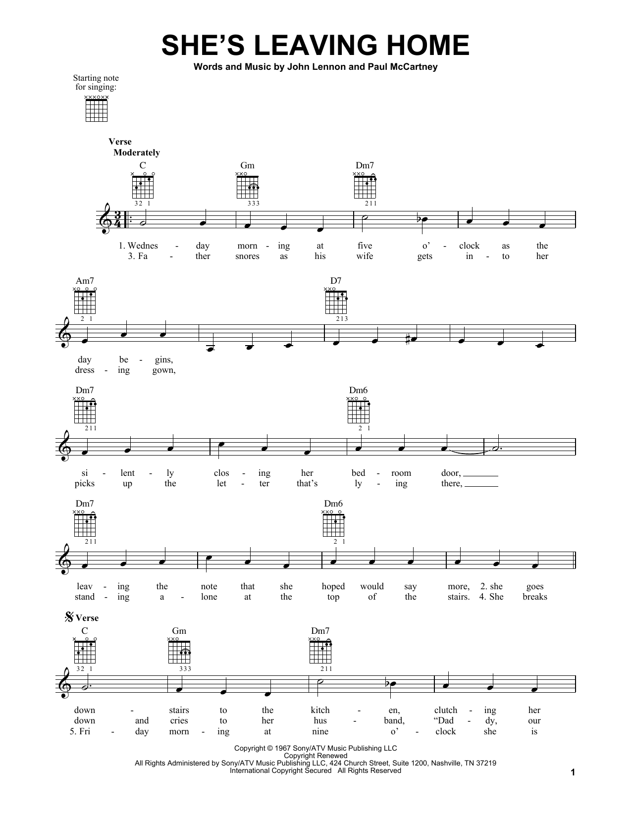 Tablature guitare She's Leaving Home de The Beatles - Tablature guitare facile