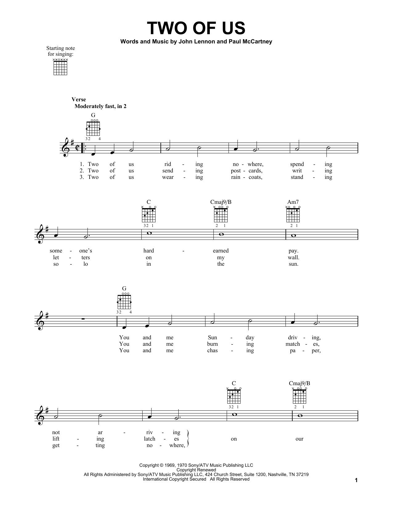 Tablature guitare Two Of Us de The Beatles - Tablature guitare facile