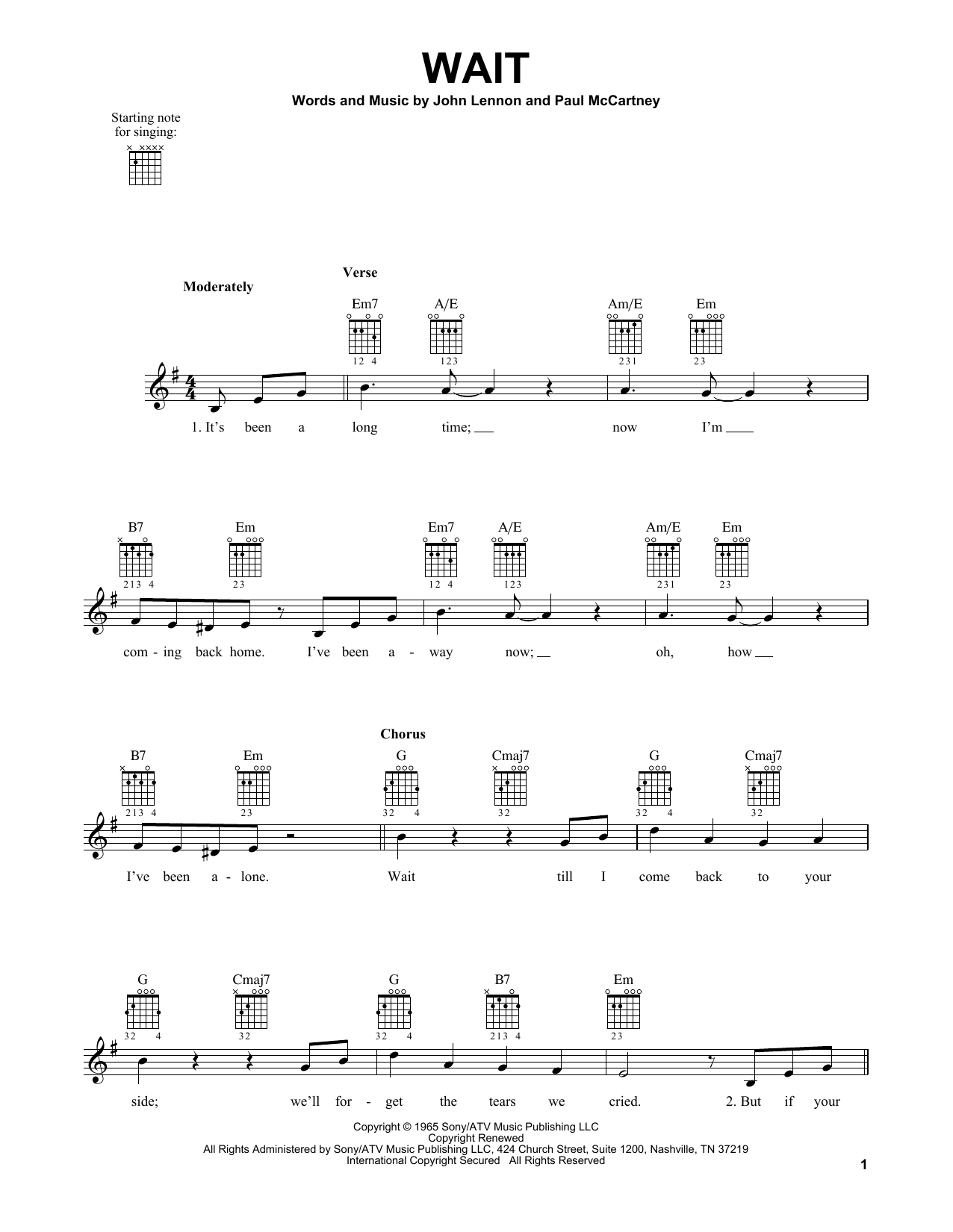 Tablature guitare Wait de The Beatles - Tablature guitare facile