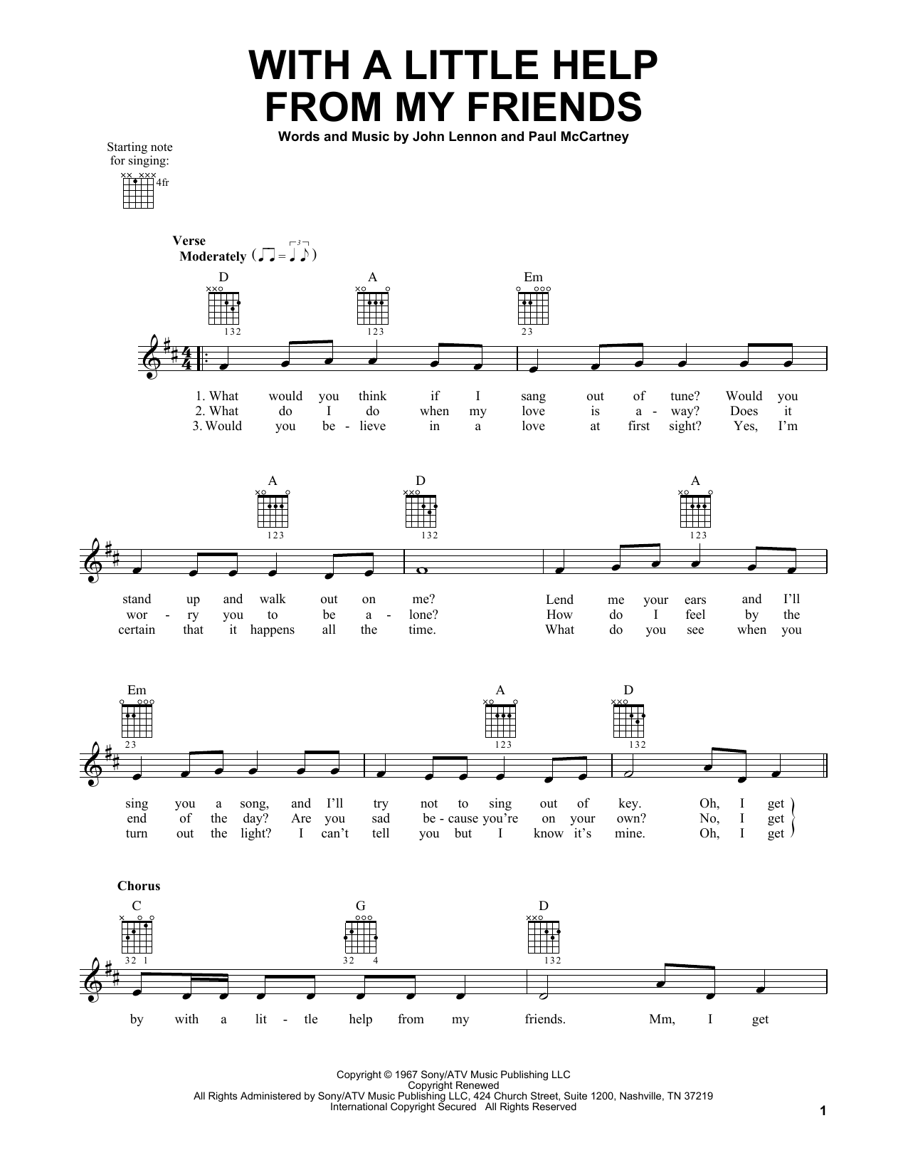 Tablature guitare With A Little Help From My Friends de The Beatles - Tablature guitare facile