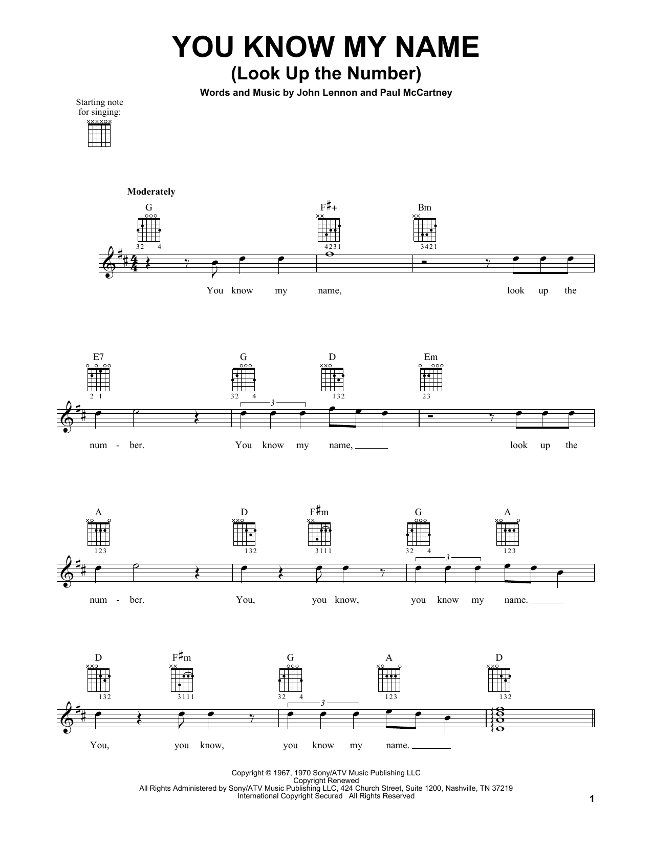 Tablature guitare You Know My Name (Look Up The Number) de The Beatles - Tablature guitare facile
