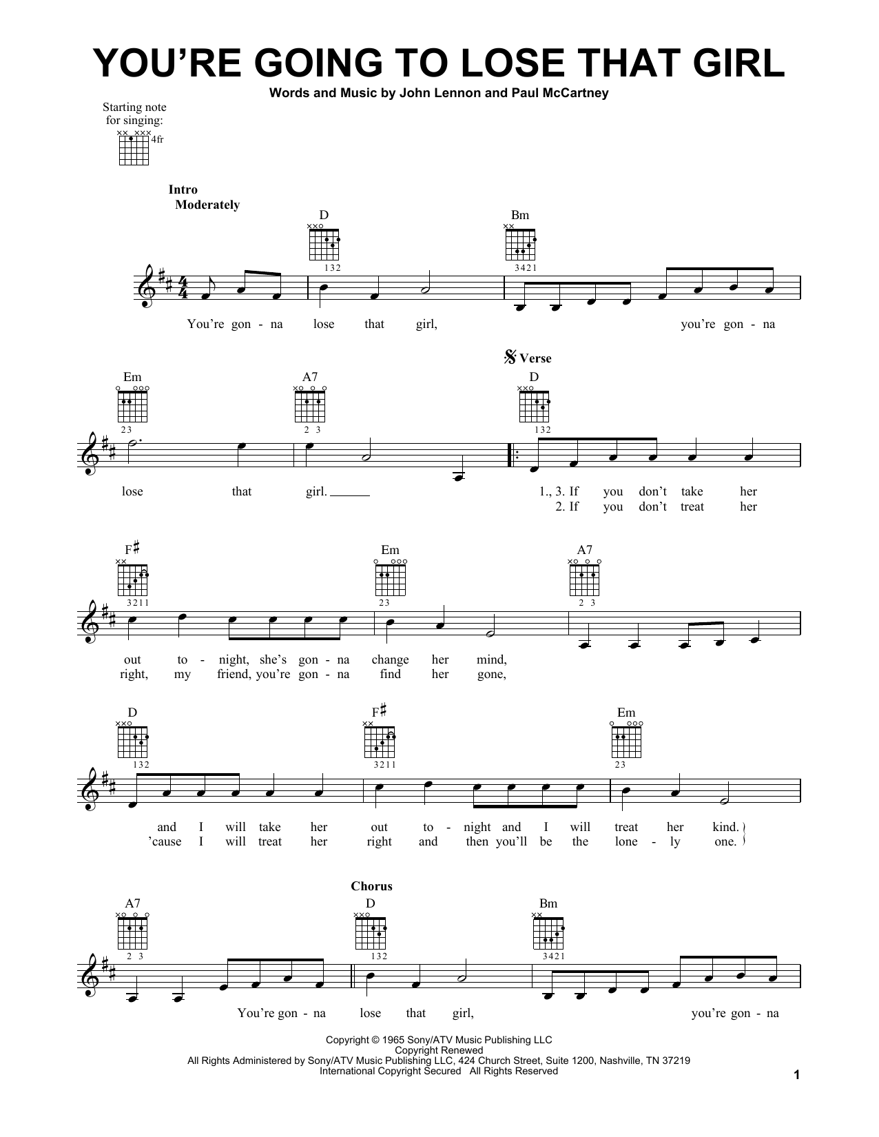 Tablature guitare You're Going To Lose That Girl de The Beatles - Tablature guitare facile