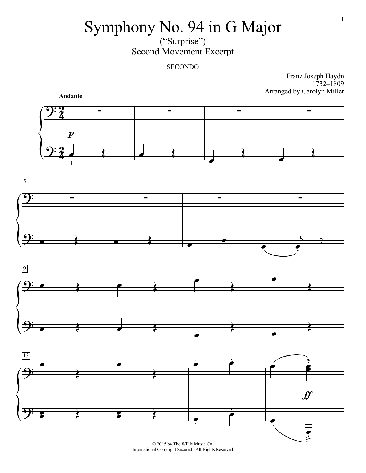 Symphony No. 94 In G Major (Surprise), Second Movement Excerpt Sheet Music