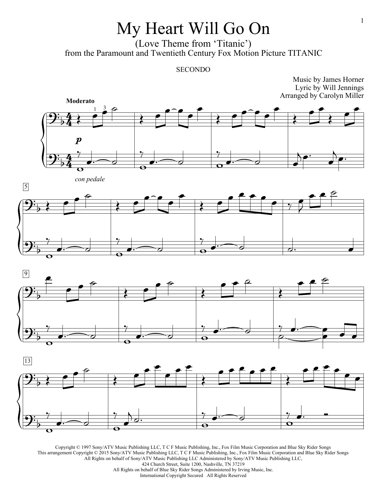 My Heart Will Go On (Love Theme From Titanic) sheet music by Celine Dion (Piano Duet u2013 162211)