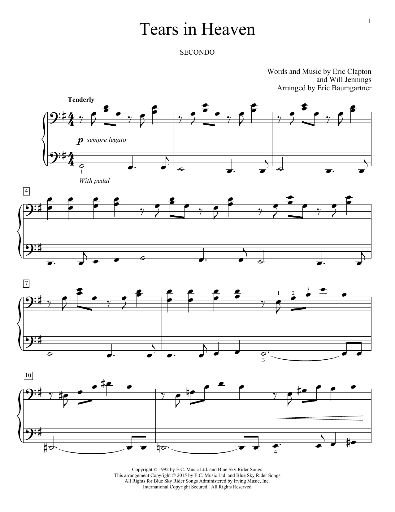 Partition piano Tears In Heaven de Eric Baumgartner - 4 mains