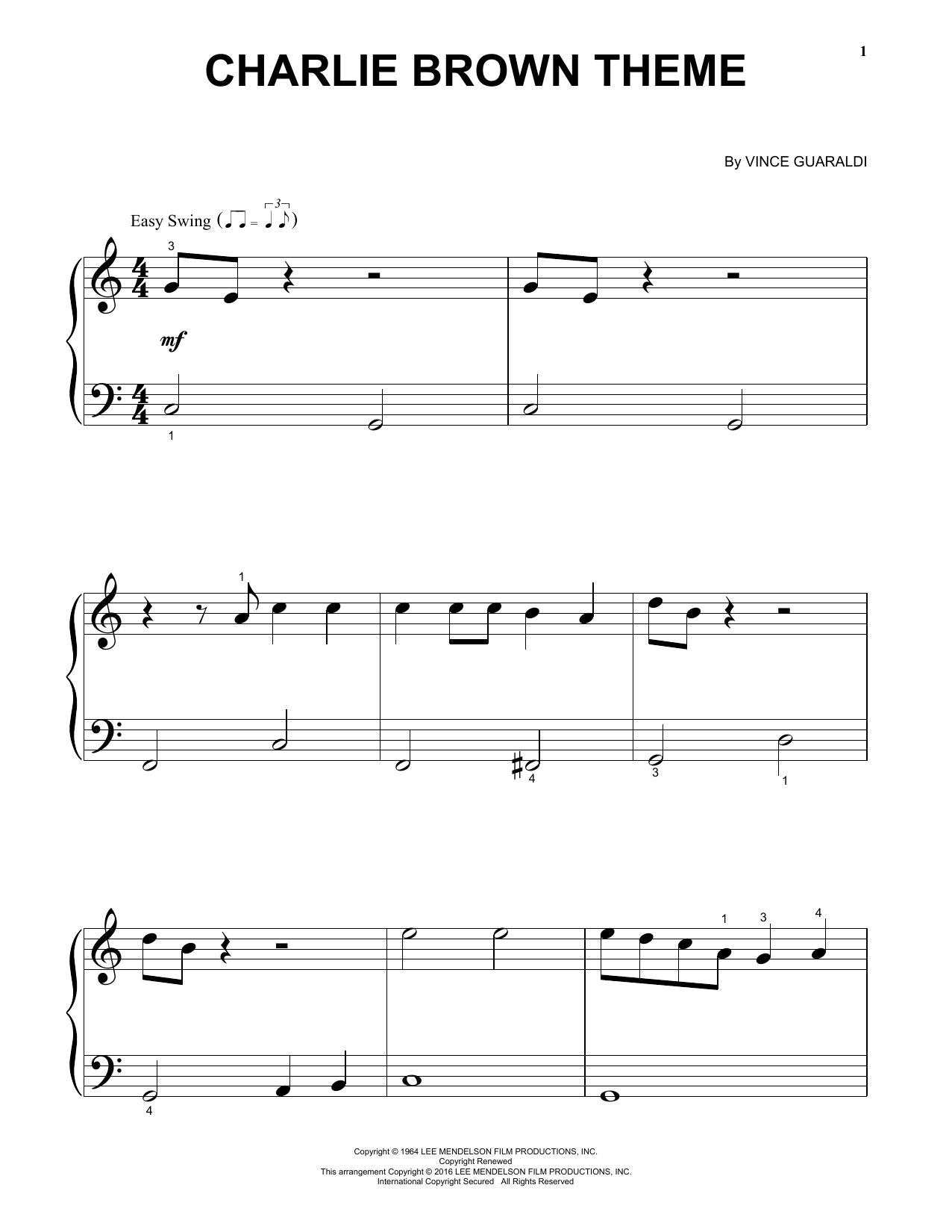 Partition piano Charlie Brown Theme de Vince Guaraldi - Autre