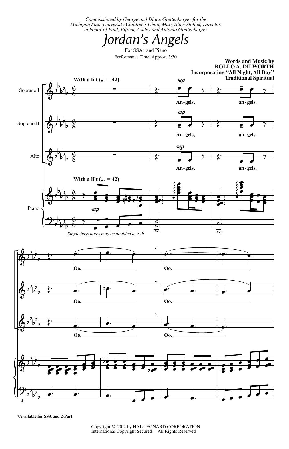 Partition chorale Jordan's Angels de Rollo Dilworth - SSA