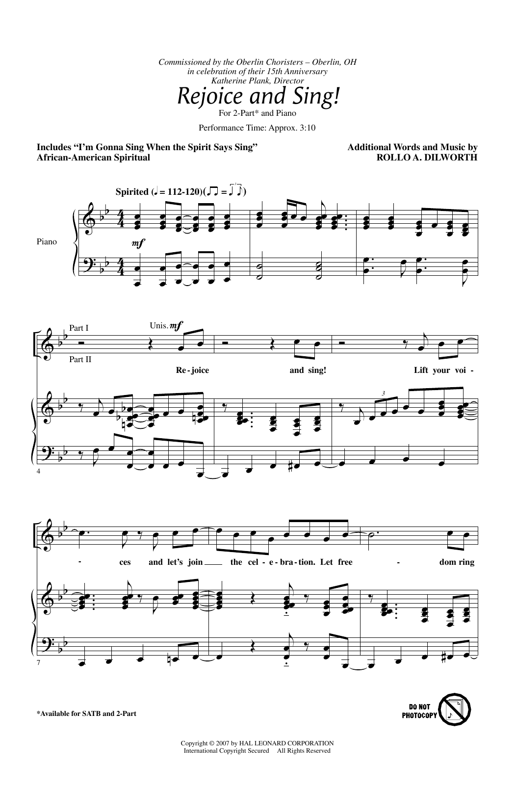 Rejoice And Sing! Sheet Music