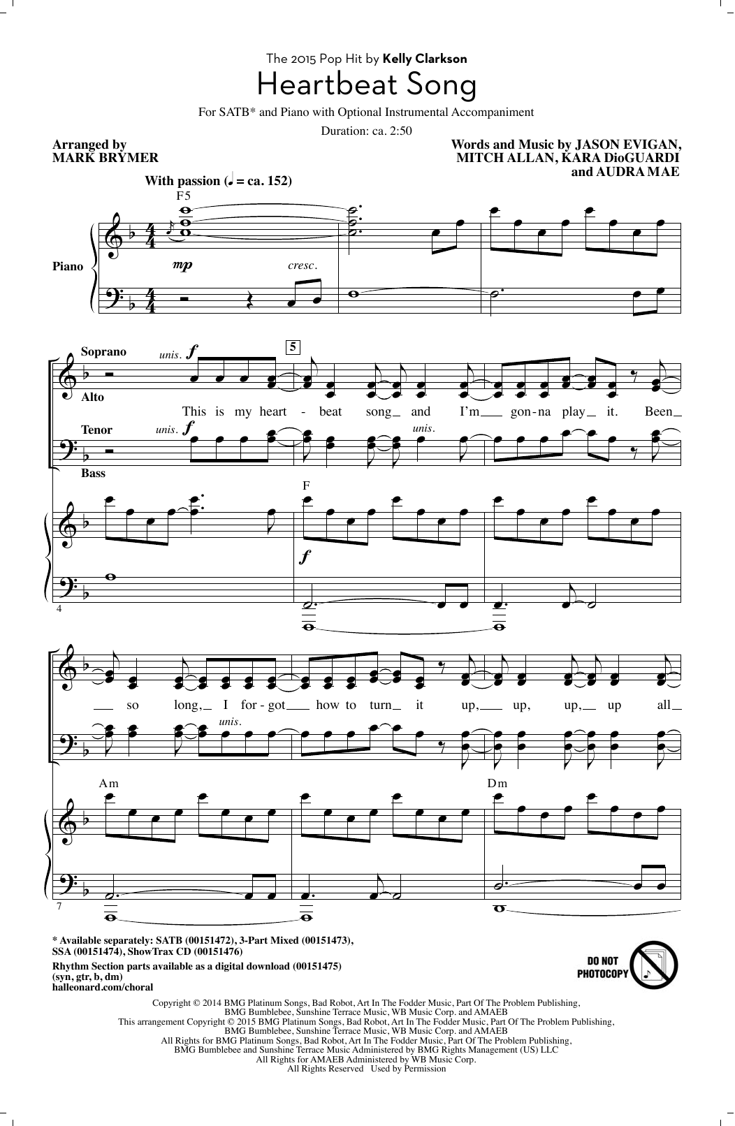 Partition chorale Heartbeat Song (arr. Mark Brymer) de Kelly Clarkson - SATB