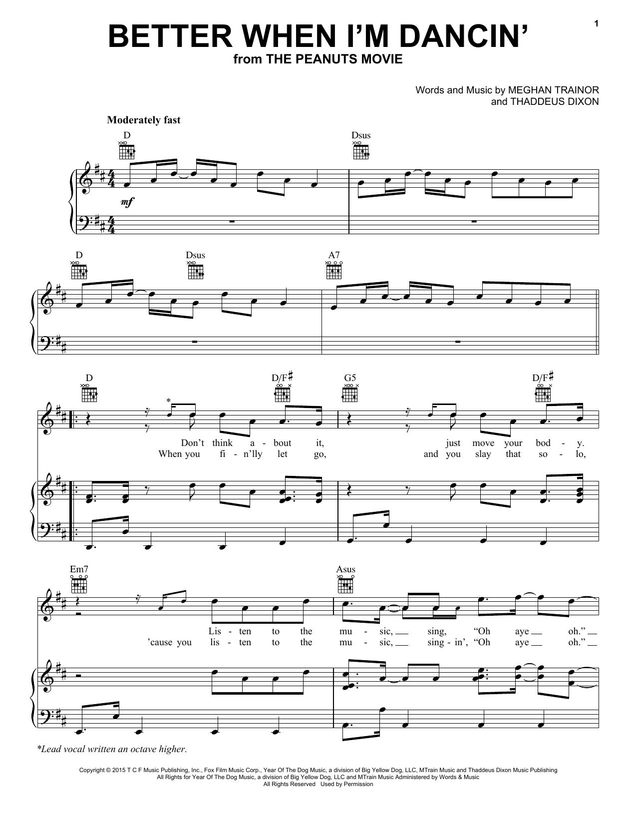 Partition piano Better When I'm Dancin' de Meghan Trainor - Piano Voix Guitare (Mélodie Main Droite)