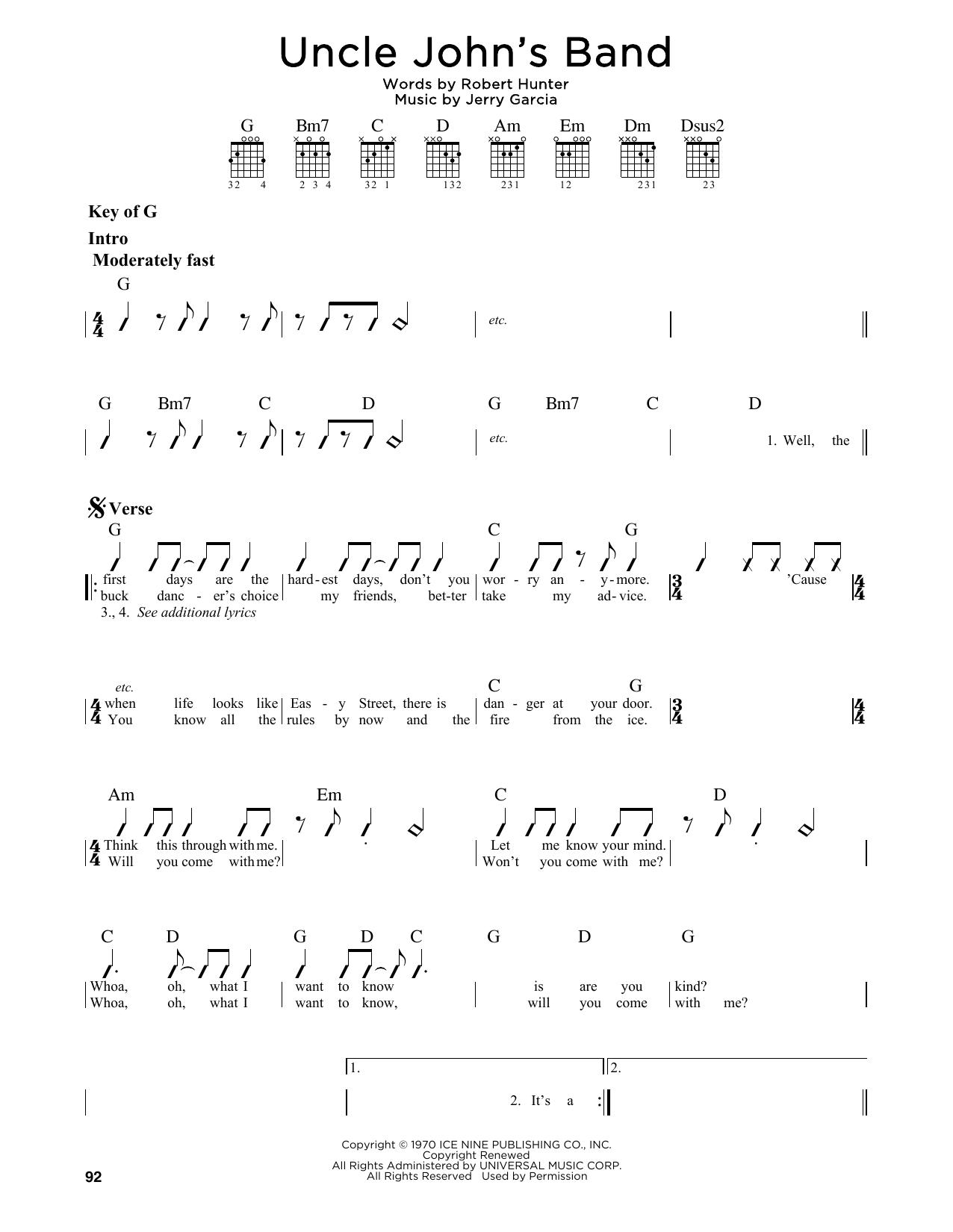 Uncle John's Band Sheet Music