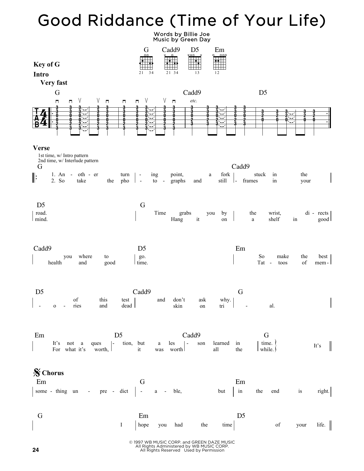 Partition autre Good Riddance (Time Of Your Life) de Green Day - Tablature Guitare Lead
