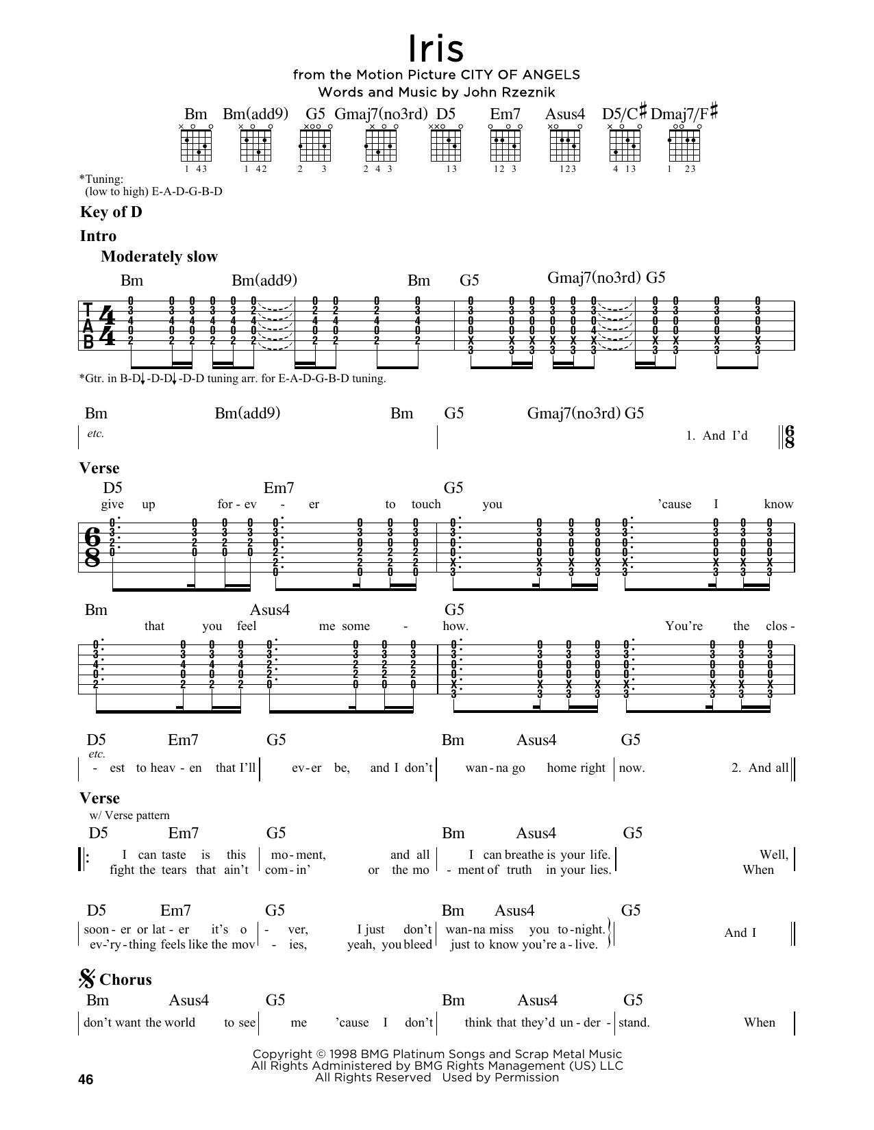Partition autre Iris de Goo Goo Dolls - Tablature Guitare Lead