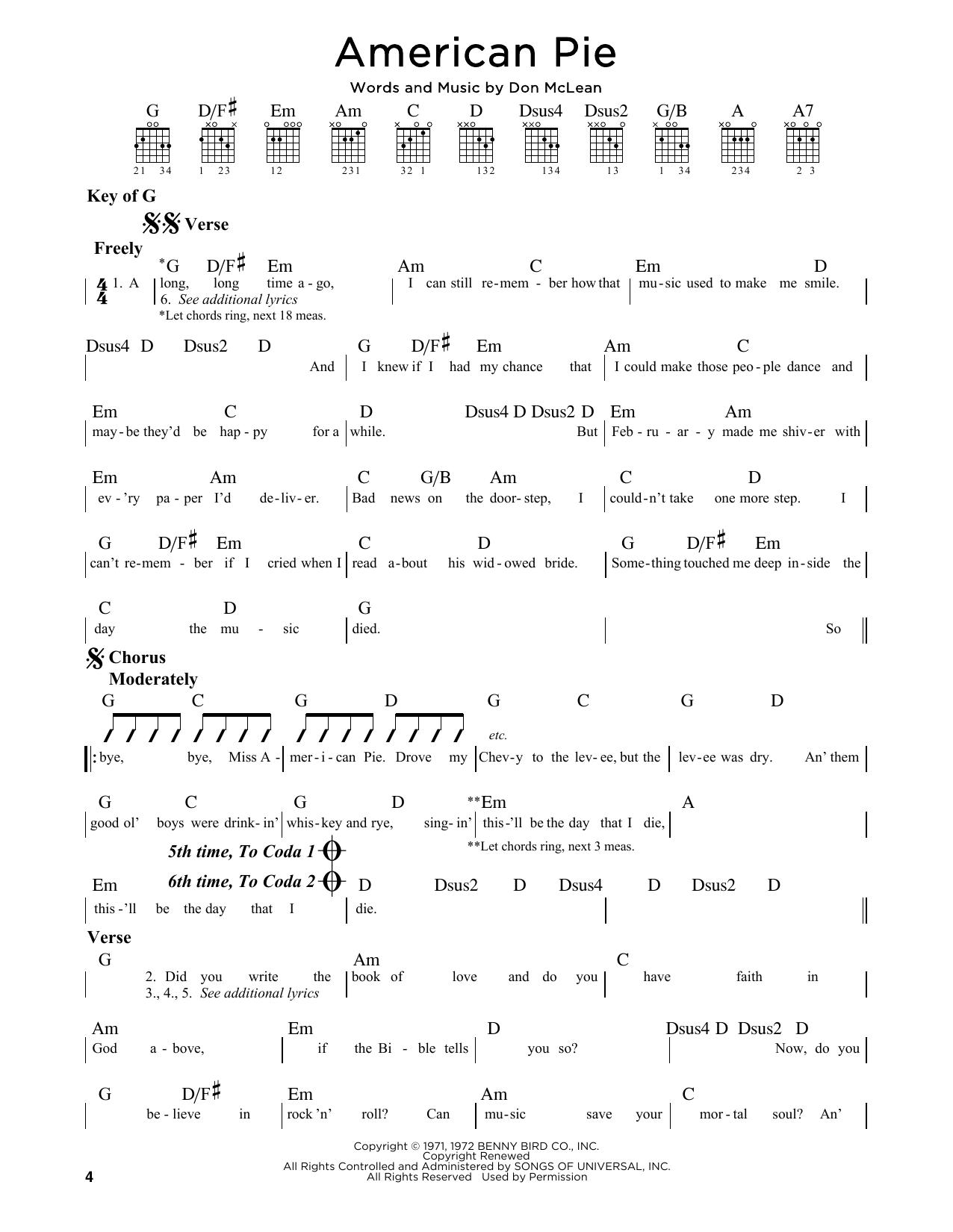 American Pie Sheet Music By Don Mclean Guitar Lead Sheet 164838