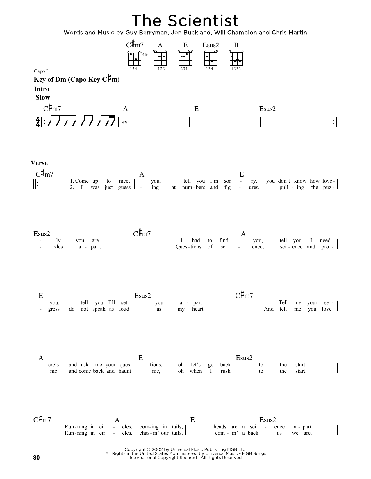 The Scientist Sheet Music Coldplay Guitar Lead Sheet