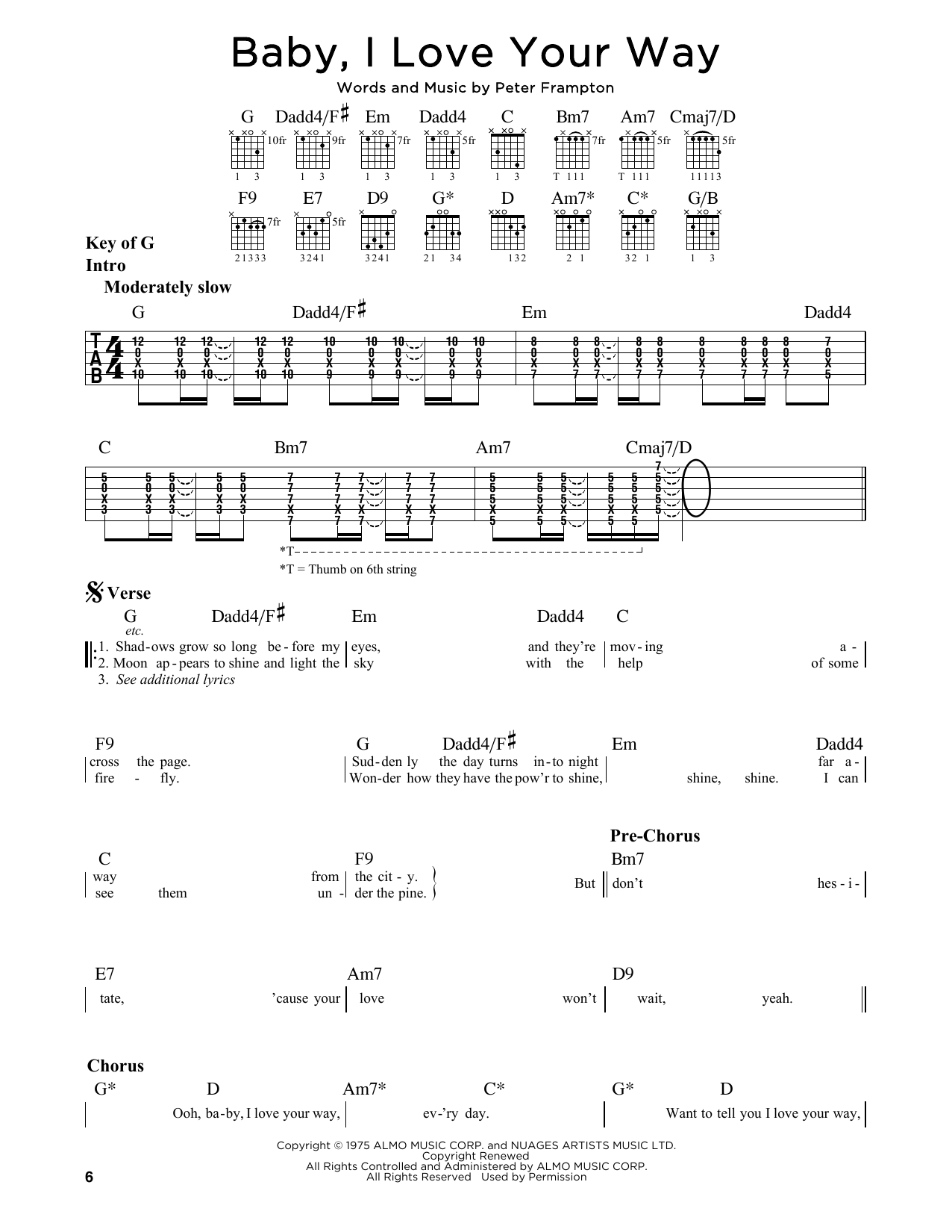 Partition autre Baby, I Love Your Way de Peter Frampton - Tablature Guitare Lead