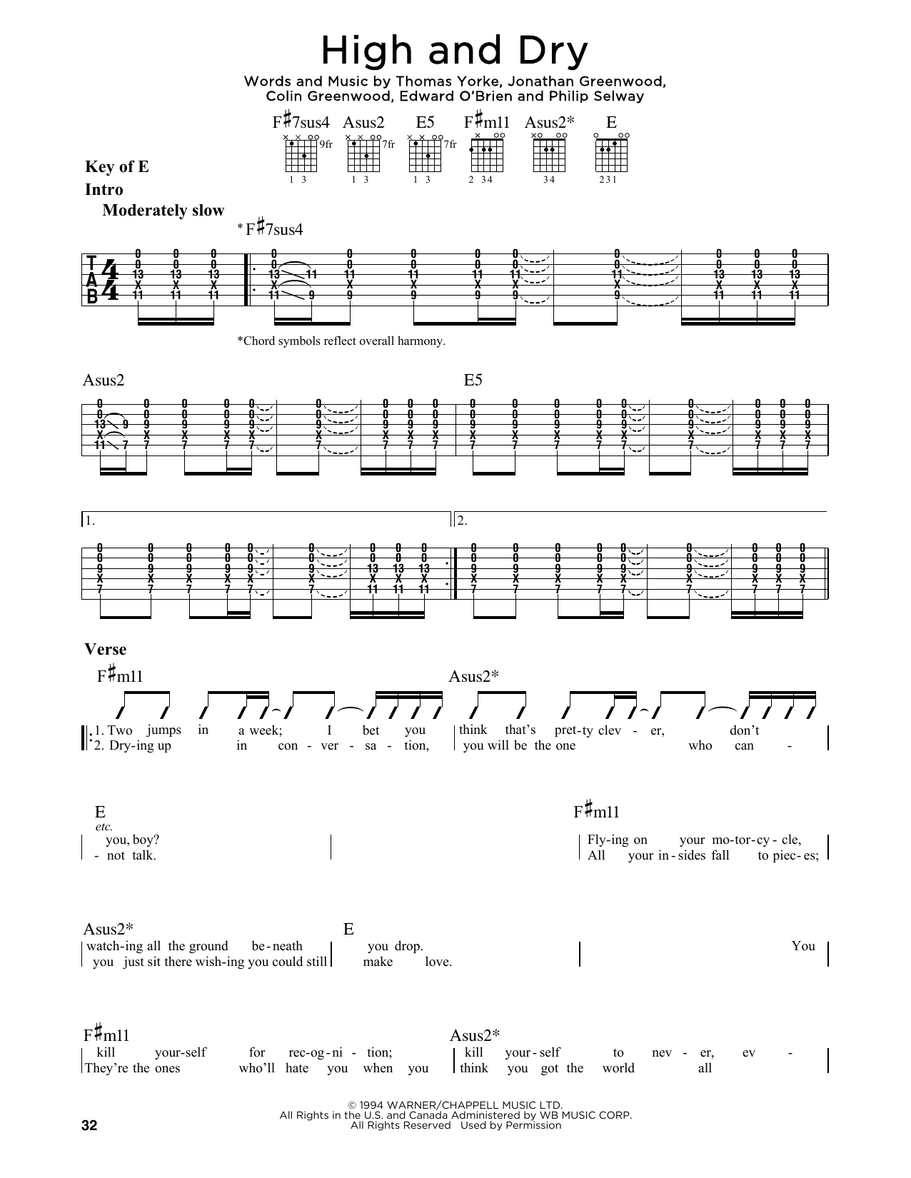 High And Dry (Guitar Lead Sheet)