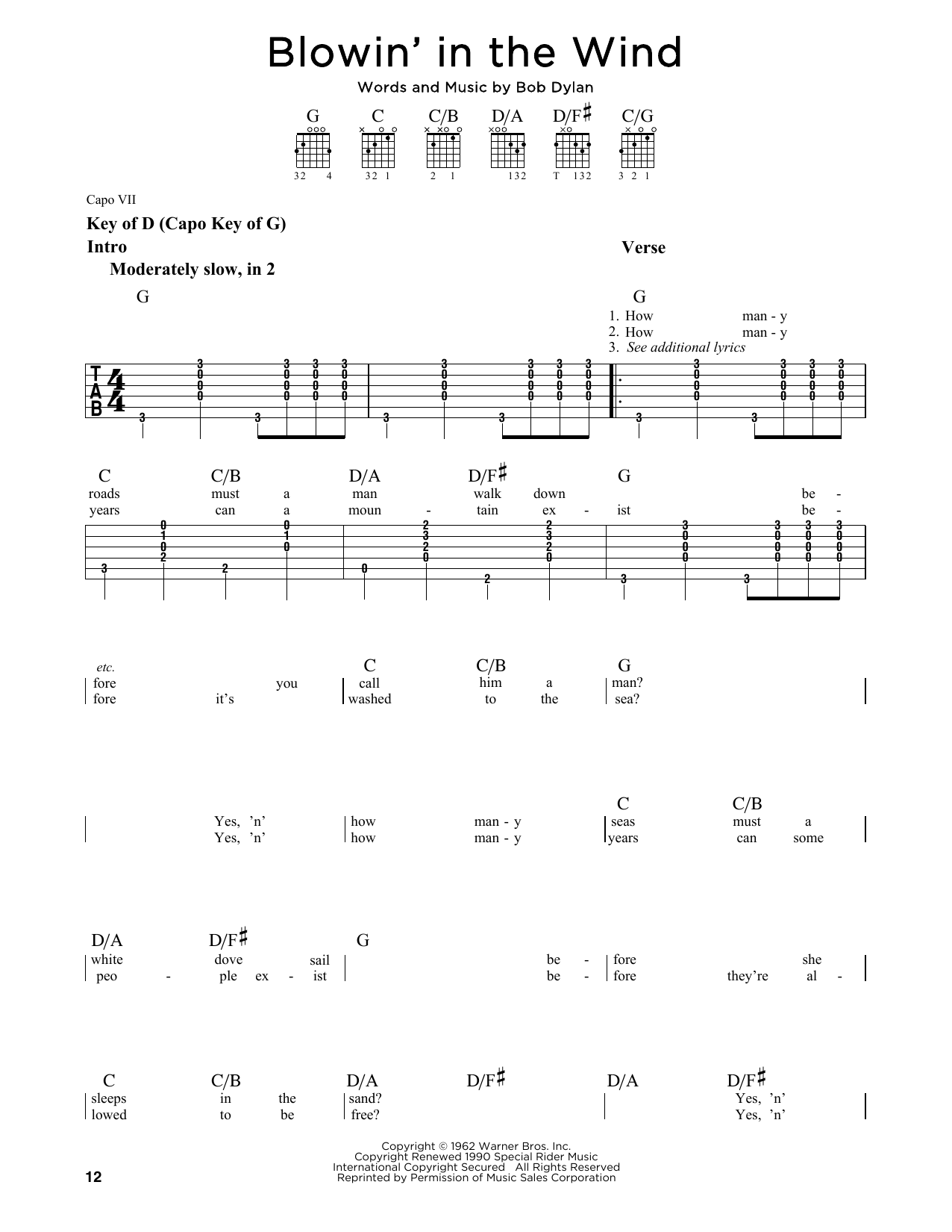 Partition autre Blowin' In The Wind de Bob Dylan - Tablature Guitare Lead