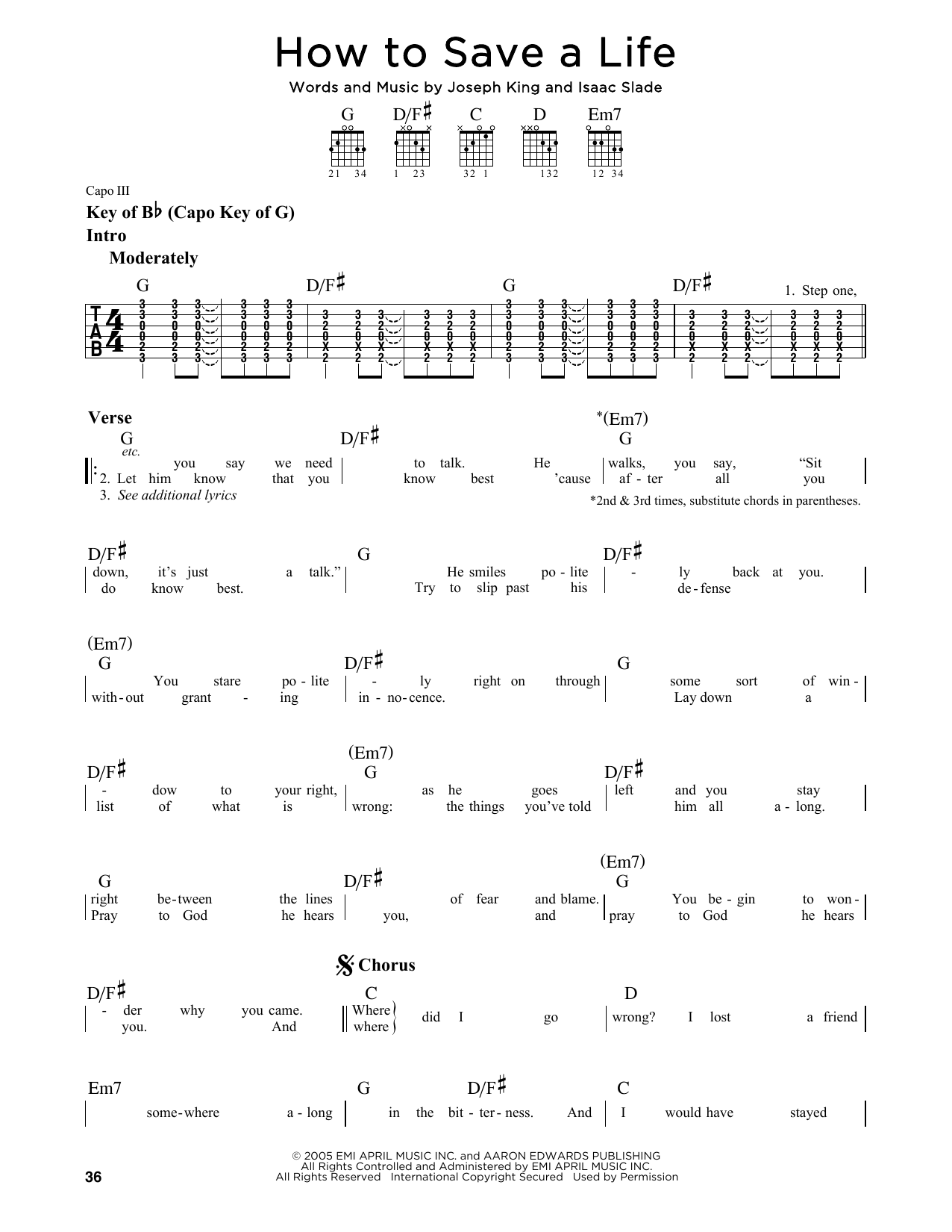 Partition autre How To Save A Life de The Fray - Tablature Guitare Lead