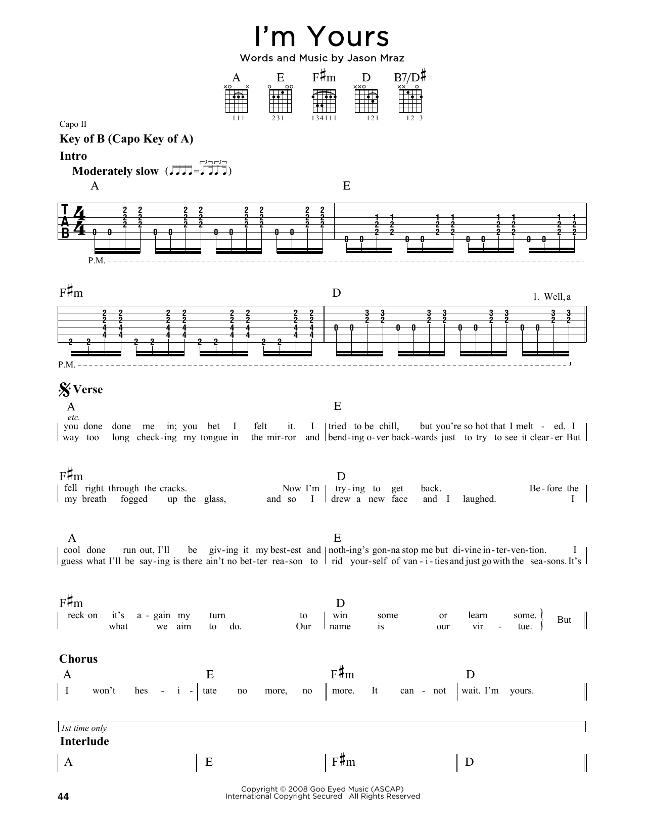 Partition autre I'm Yours de Jason Mraz - Tablature Guitare Lead