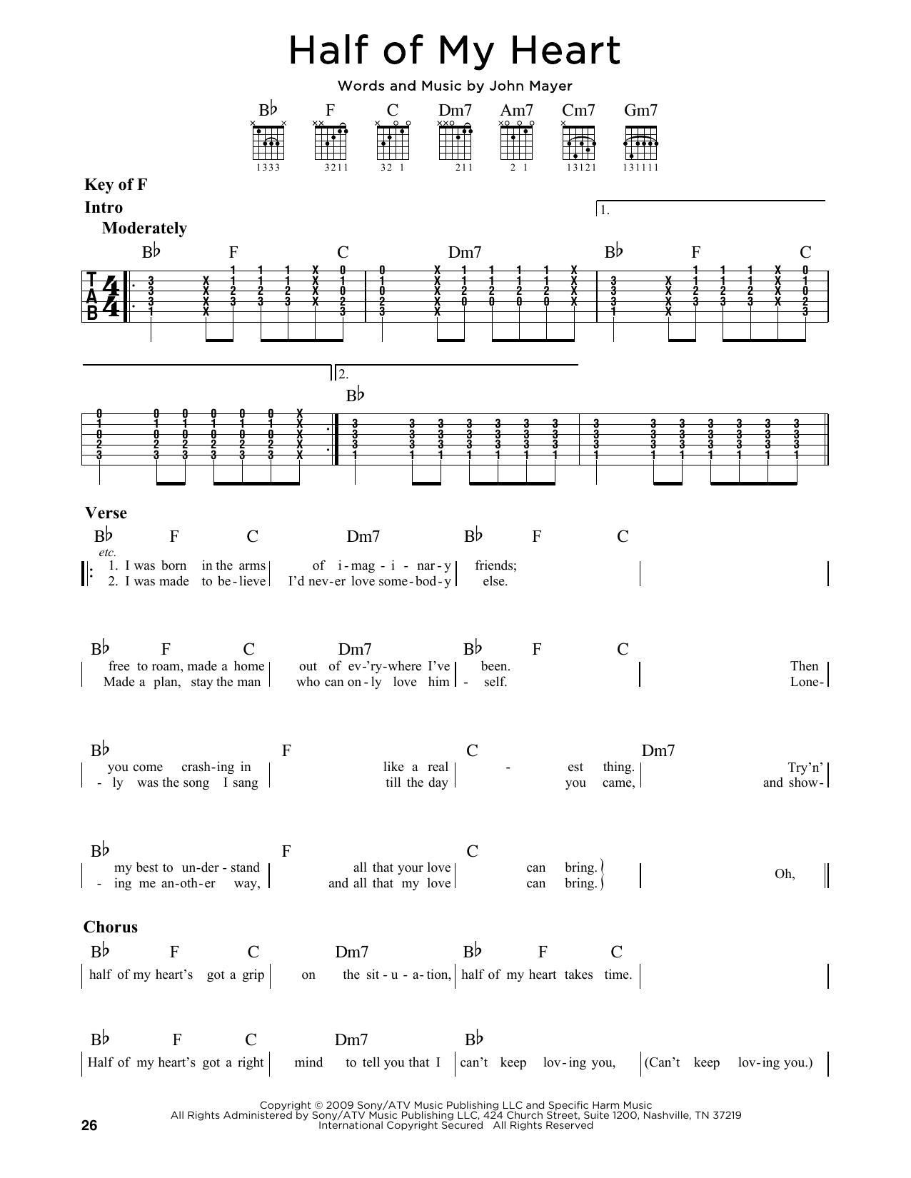 Partition autre Half Of My Heart (feat. Taylor Swift) de John Mayer - Tablature Guitare Lead