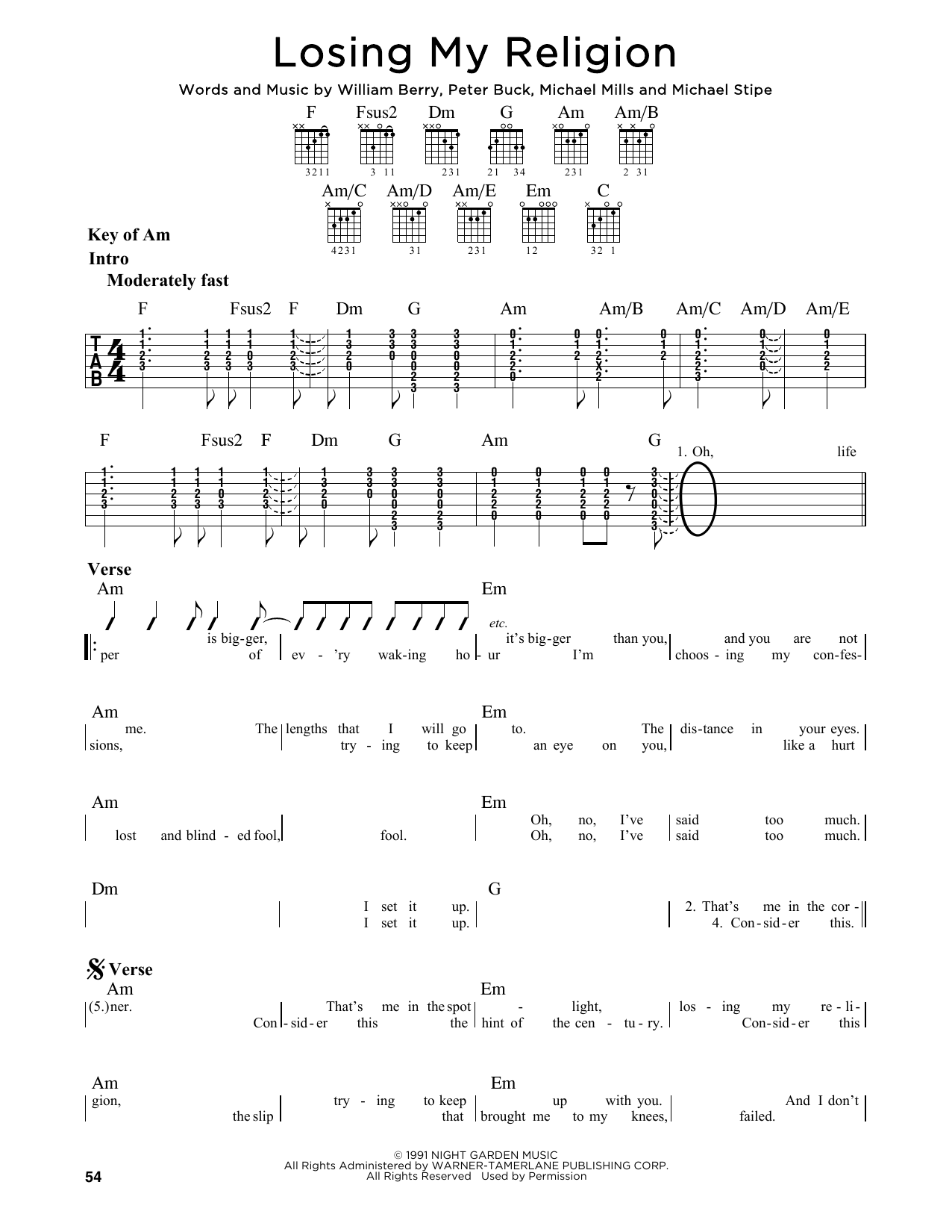 Losing My Religion Sheet Music Rem Guitar Lead Sheet