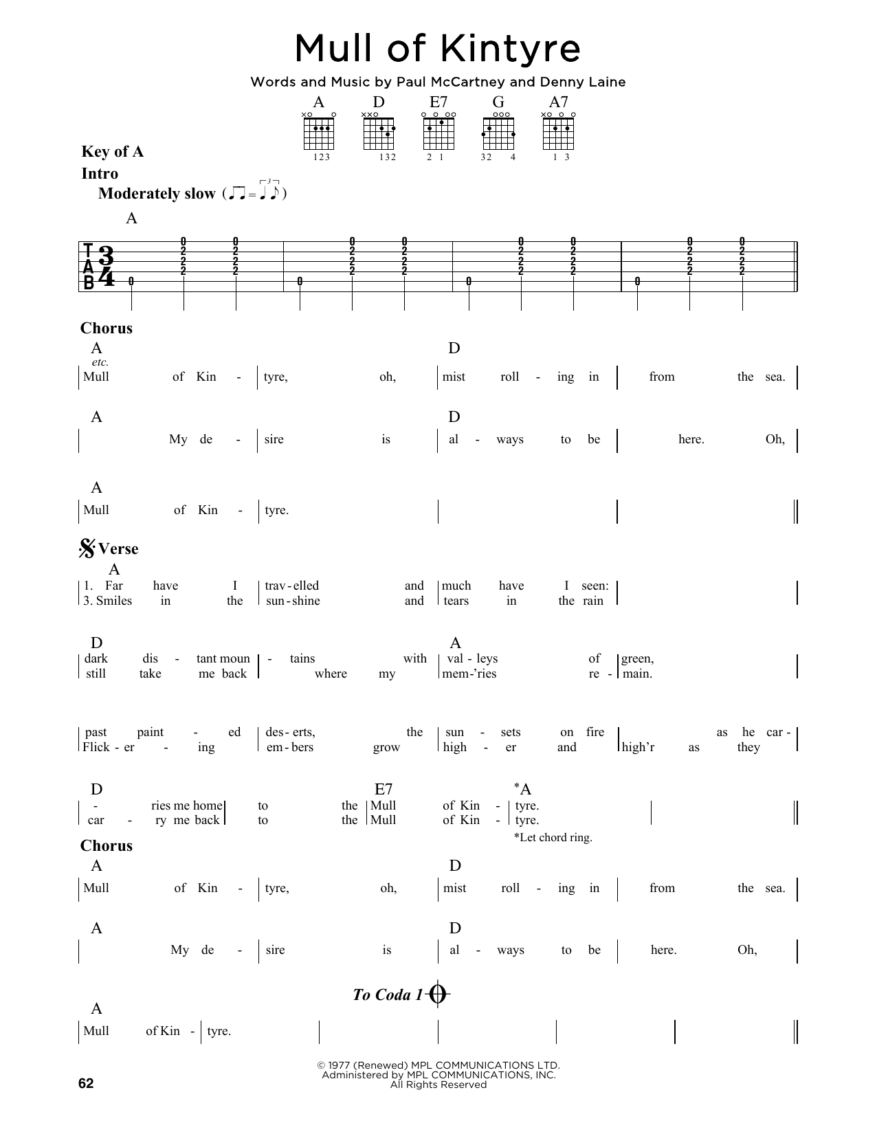 Mull Of Kintyre Sheet Music