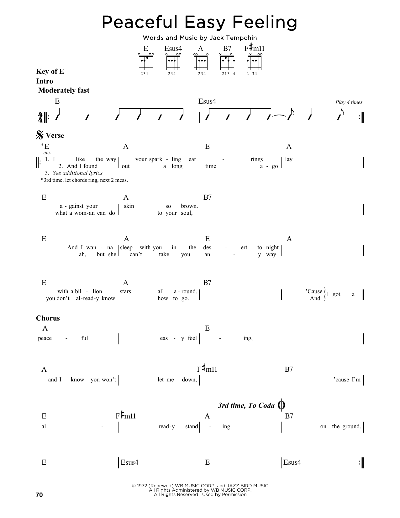 Peaceful Easy Feeling Sheet Music By Eagles Guitar Lead Sheet 164826