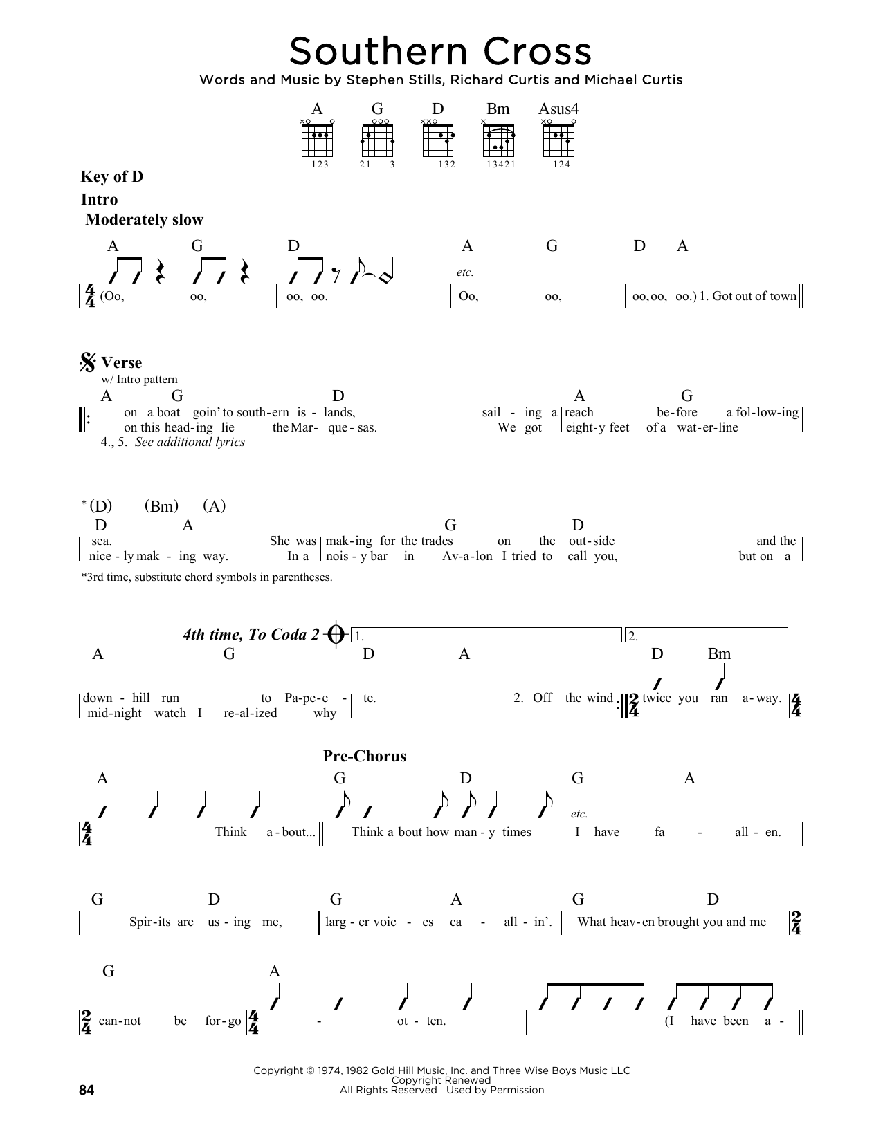 Southern Cross Sheet Music By Crosby Stills Nash Guitar Lead