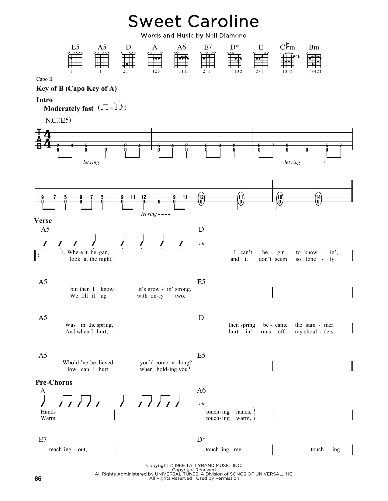 sweet caroline sheet music pdf