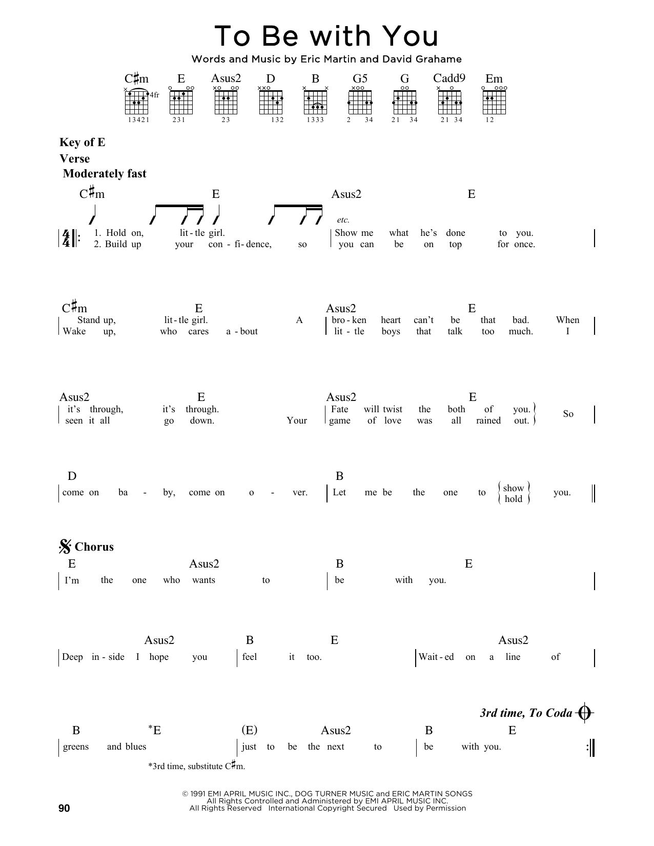 To Be With You (Guitar Lead Sheet)