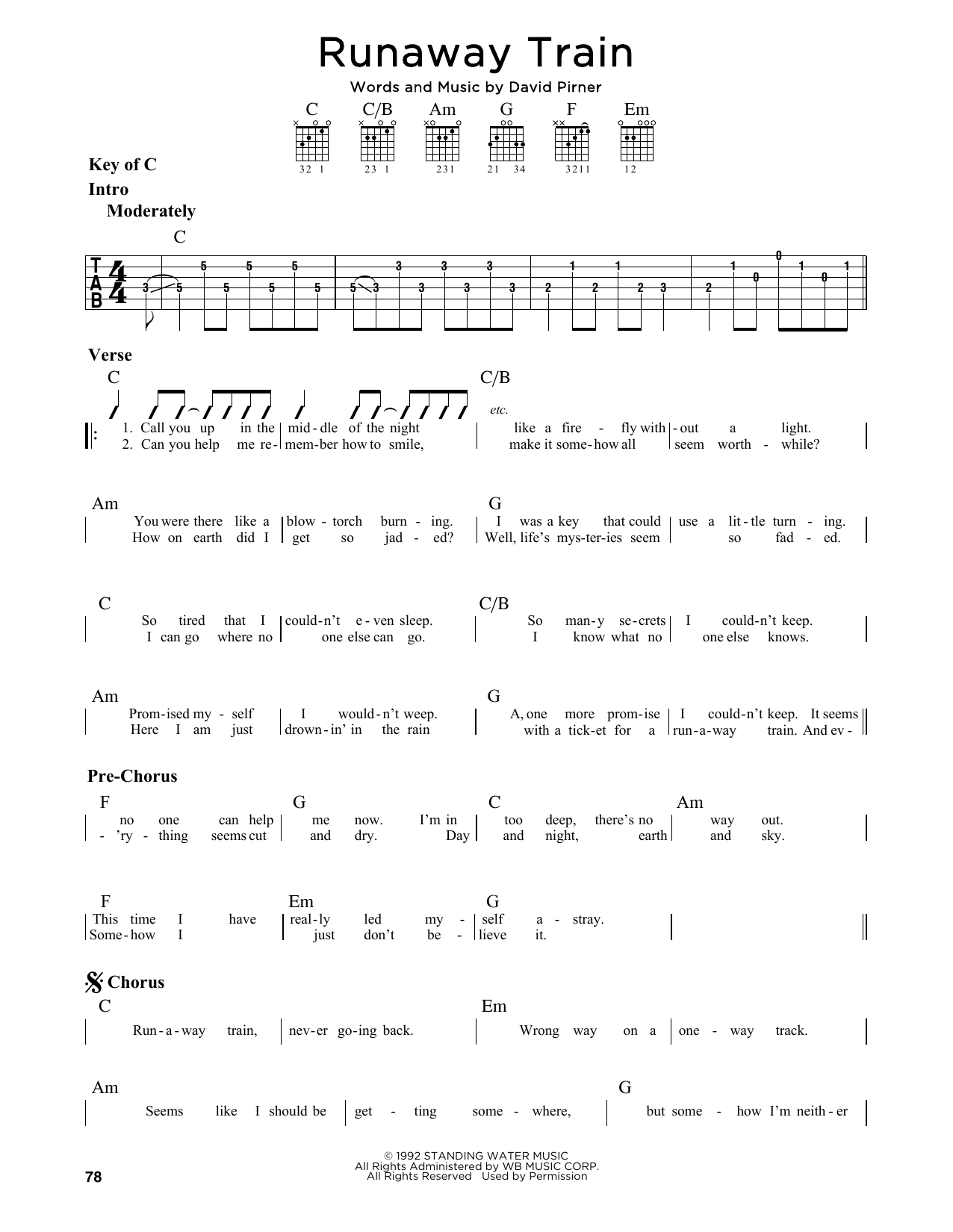 Runaway Train Sheet Music Soul Asylum Guitar Lead Sheet