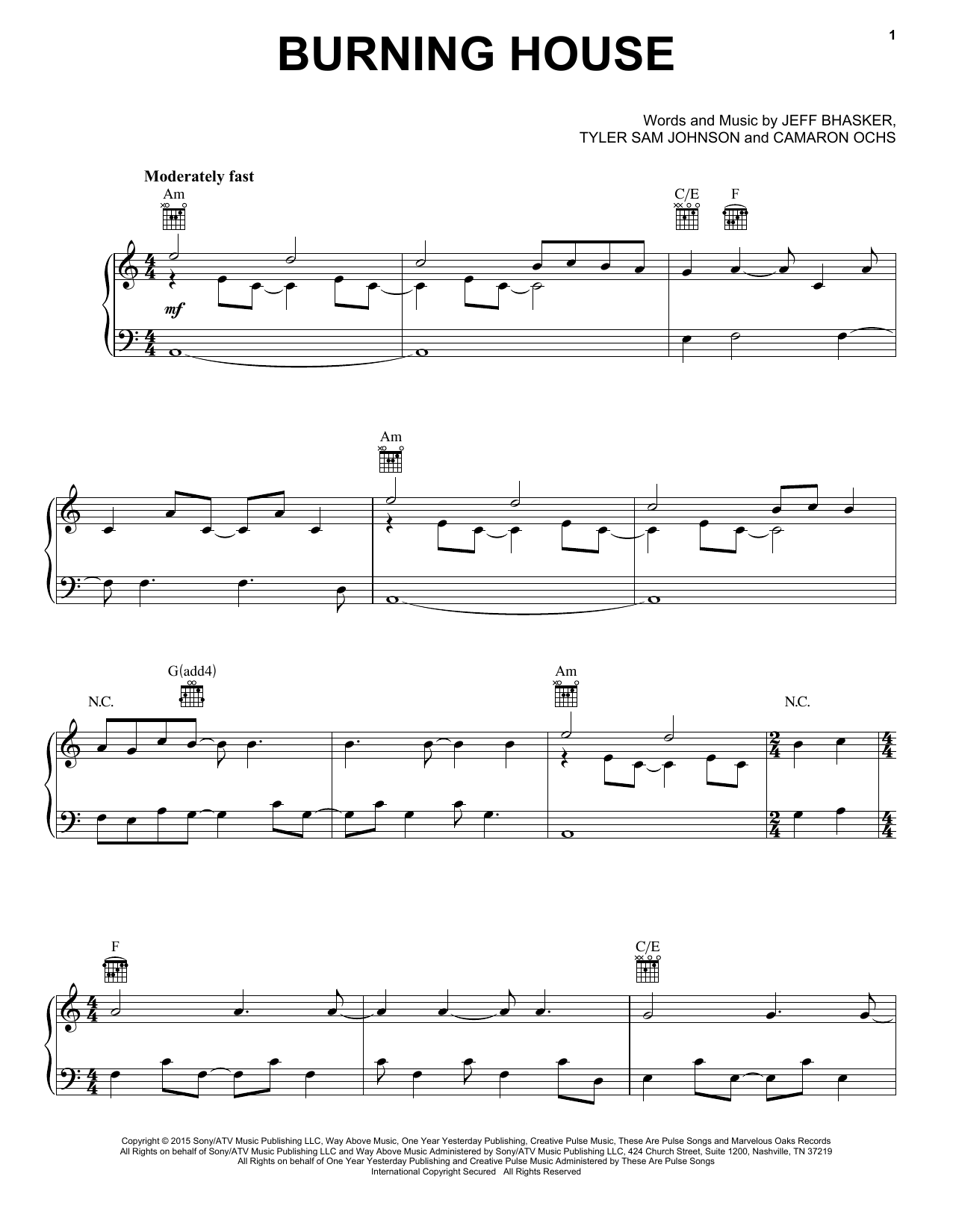 Tablature guitare Burning House de Cam - Piano Voix Guitare (Mélodie Main Droite)