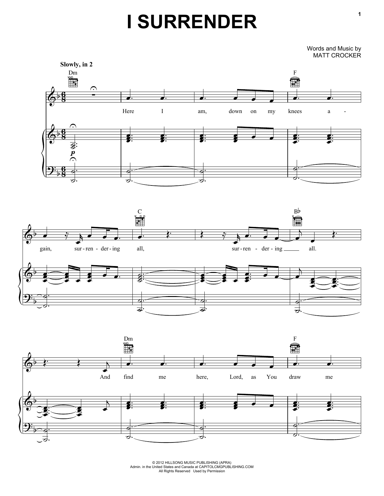 I Surrender Sheet Music