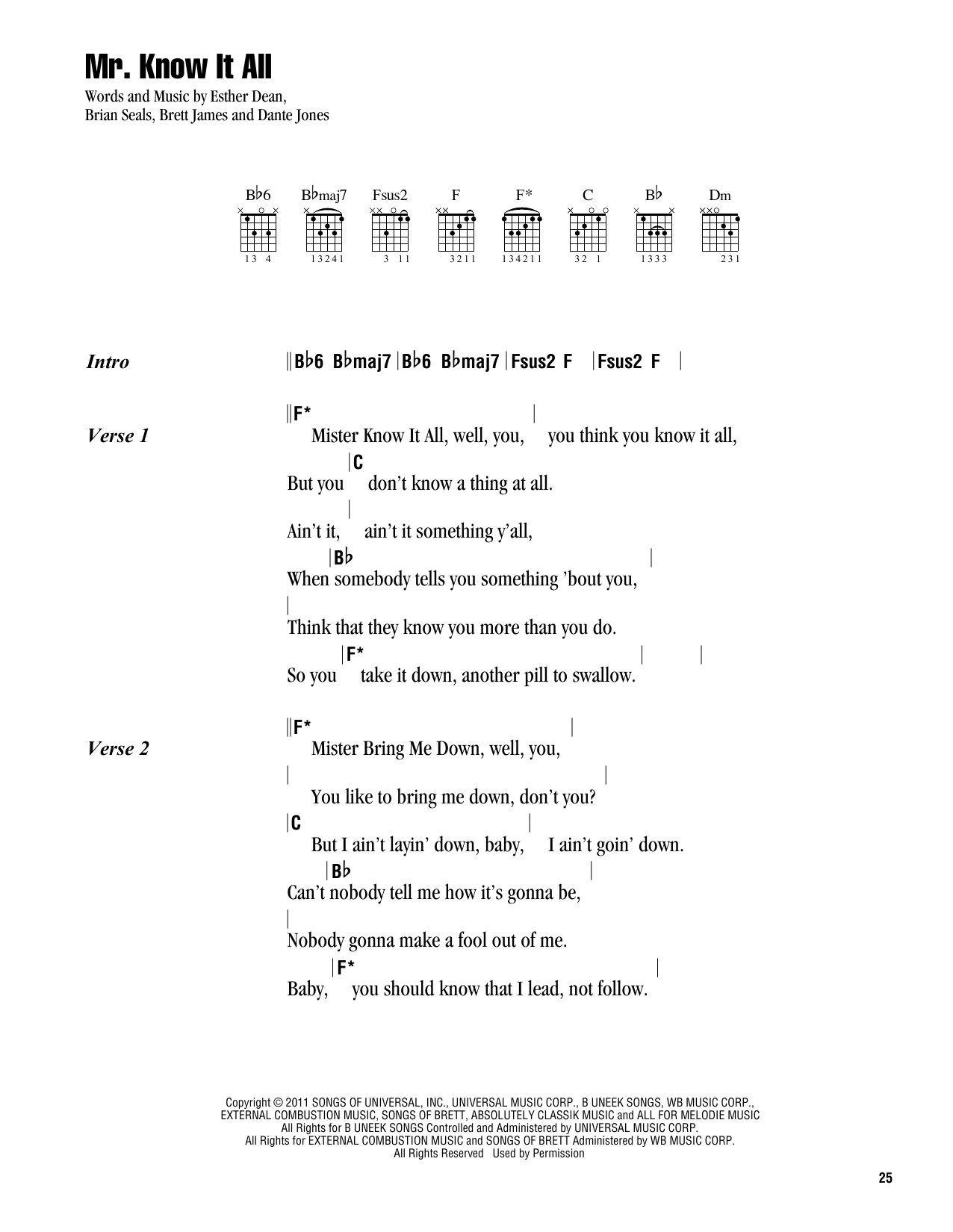 Mr. Know It All Sheet Music