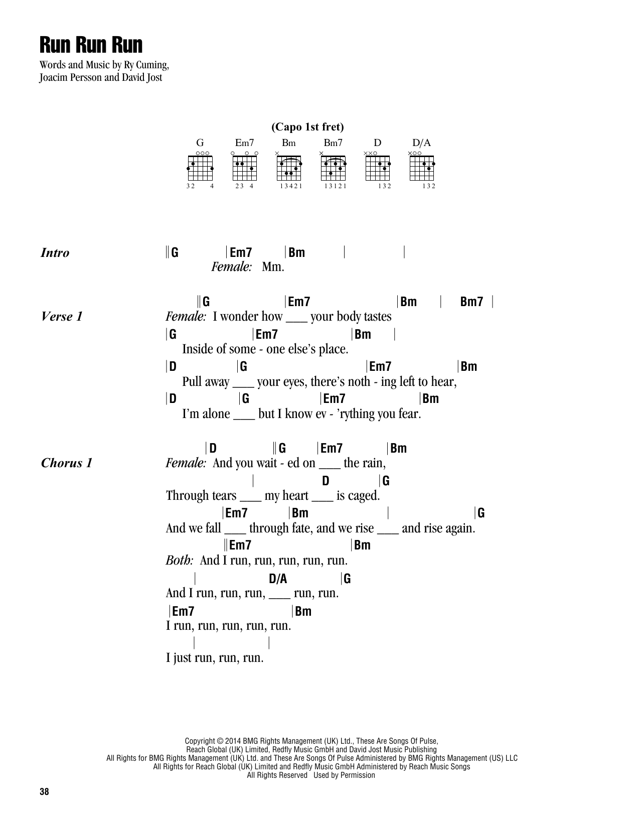 Run Run Run (Guitar Chords/Lyrics)