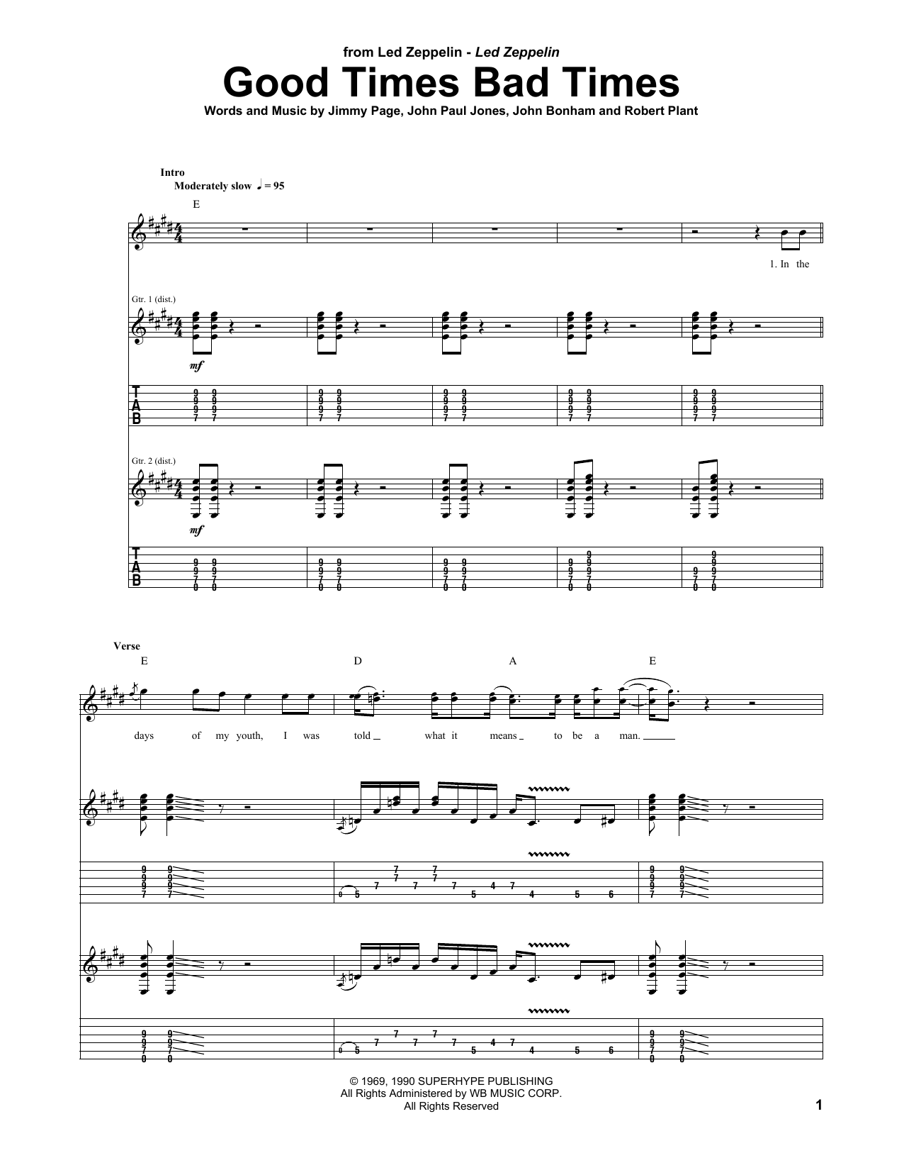 Good Times Bad Times Sheet Music