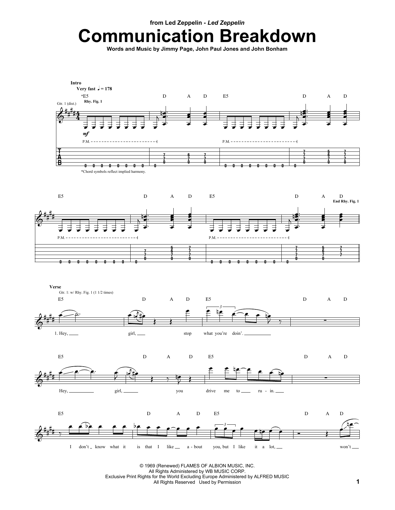 Tablature guitare Communication Breakdown de Led Zeppelin - Tablature Guitare