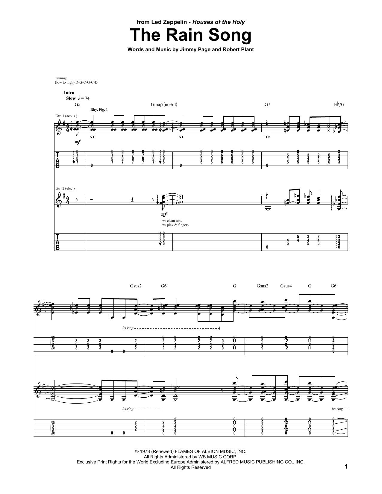 Tablature guitare The Rain Song de Led Zeppelin - Tablature Guitare