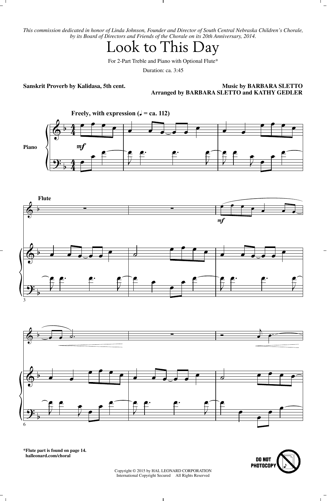 Look To This Day Sheet Music