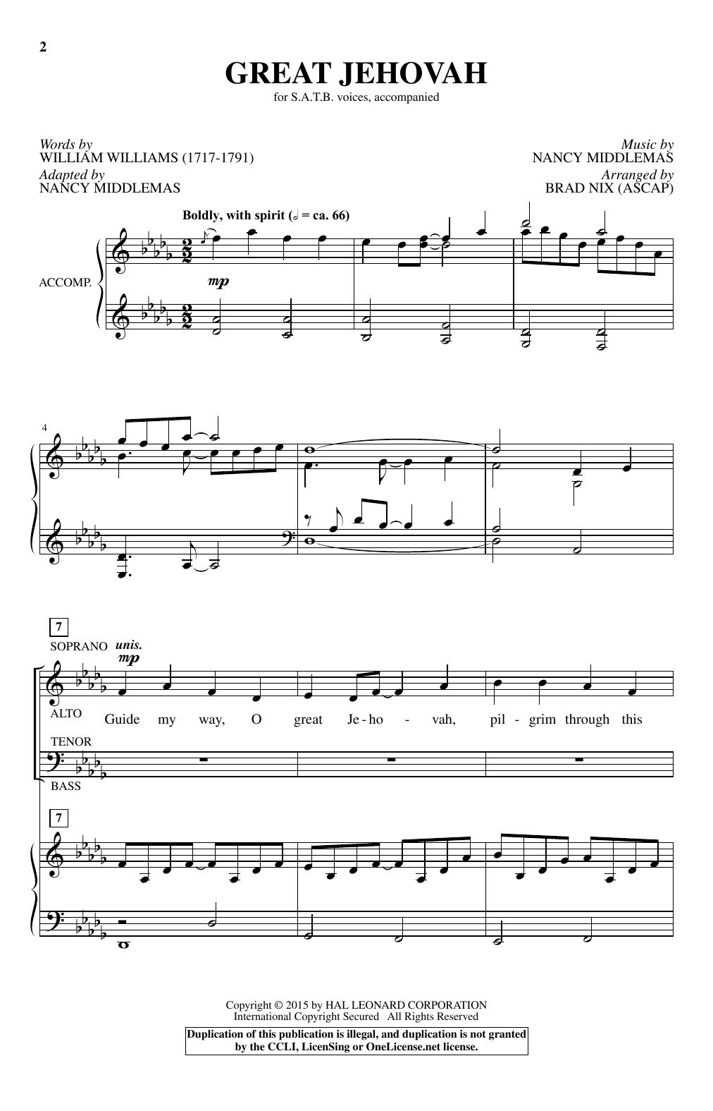Great Jehovah (arr. Brad Nix) Sheet Music