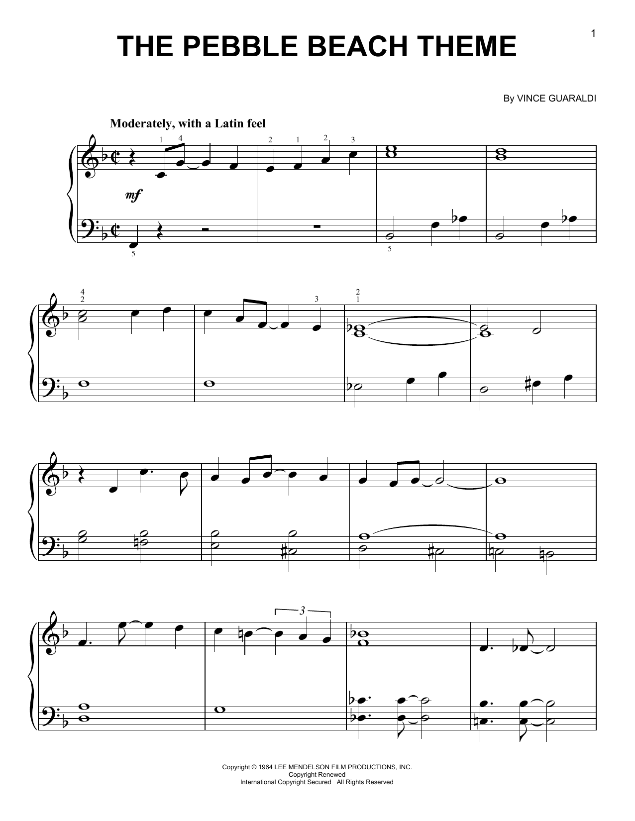 Partition piano The Pebble Beach Theme de Vince Guaraldi - Piano Facile