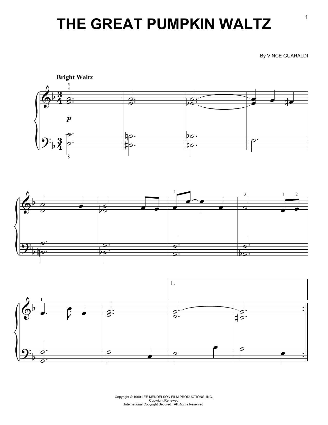 Partition piano The Great Pumpkin Waltz de Vince Guaraldi - Piano Facile