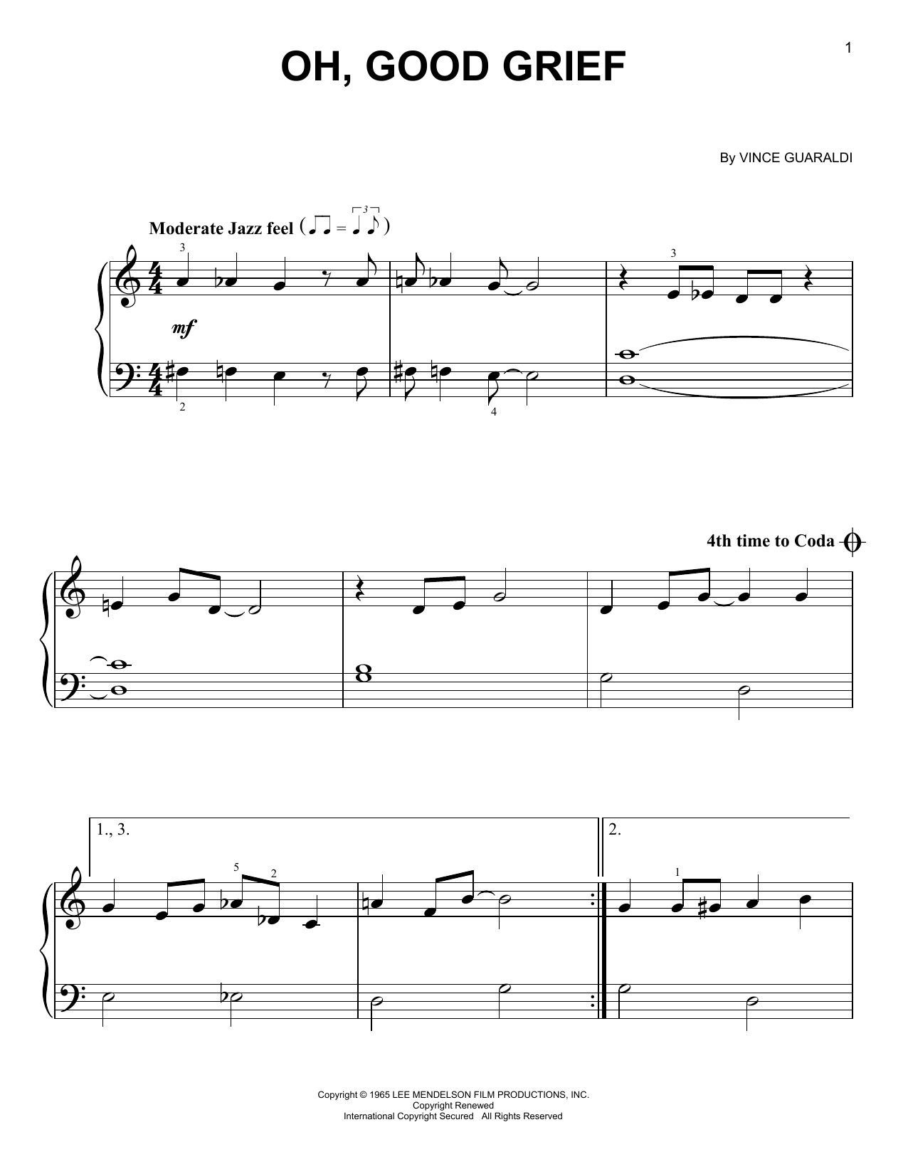 Oh, Good Grief Sheet Music