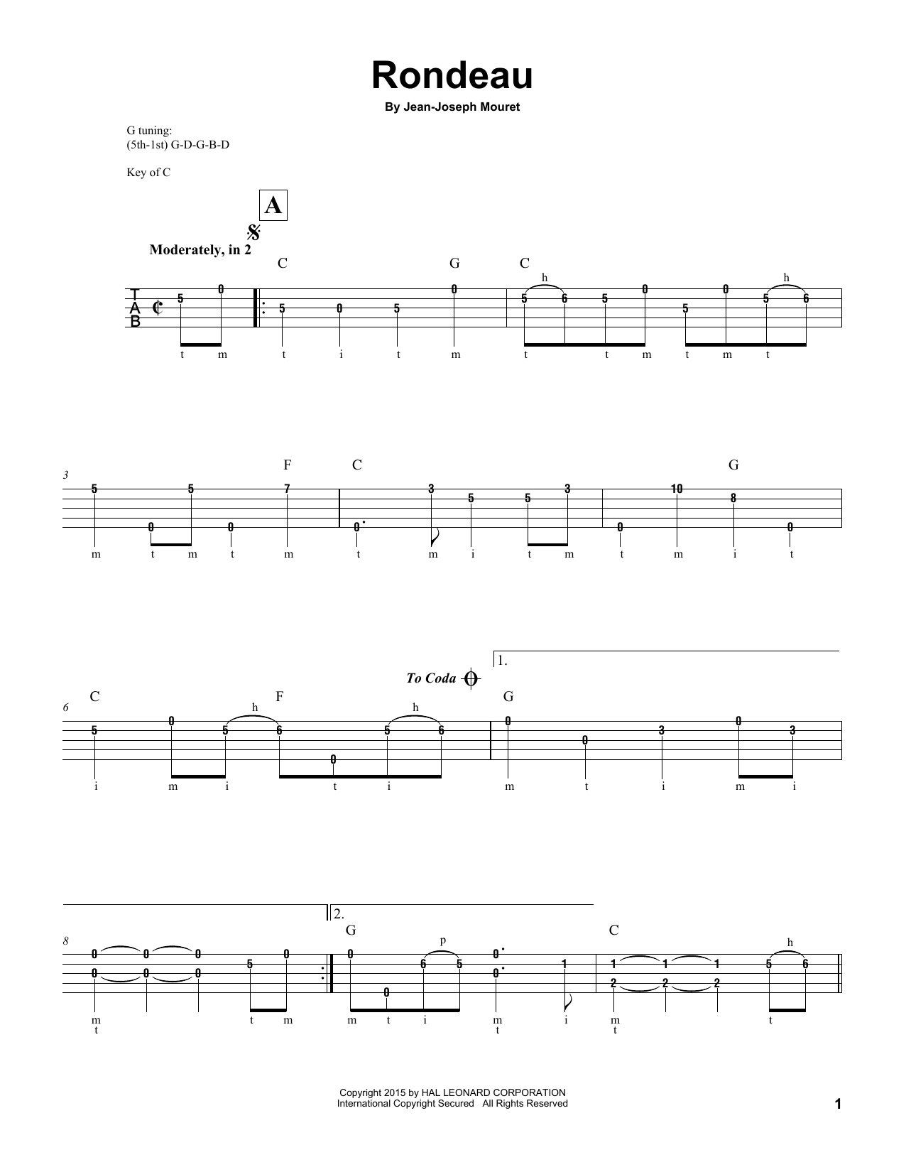 Fanfare Rondeau (Banjo Tab)