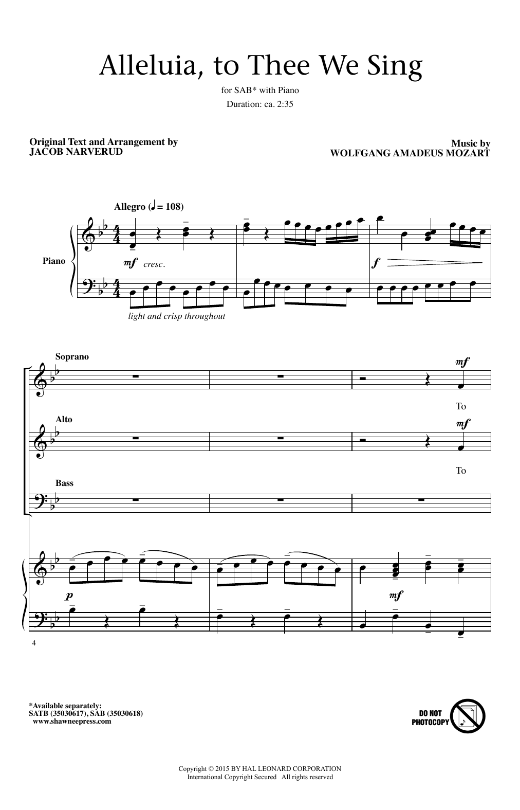 Alleluia, To Thee We Sing (arr. Jacob Narverud) Sheet Music