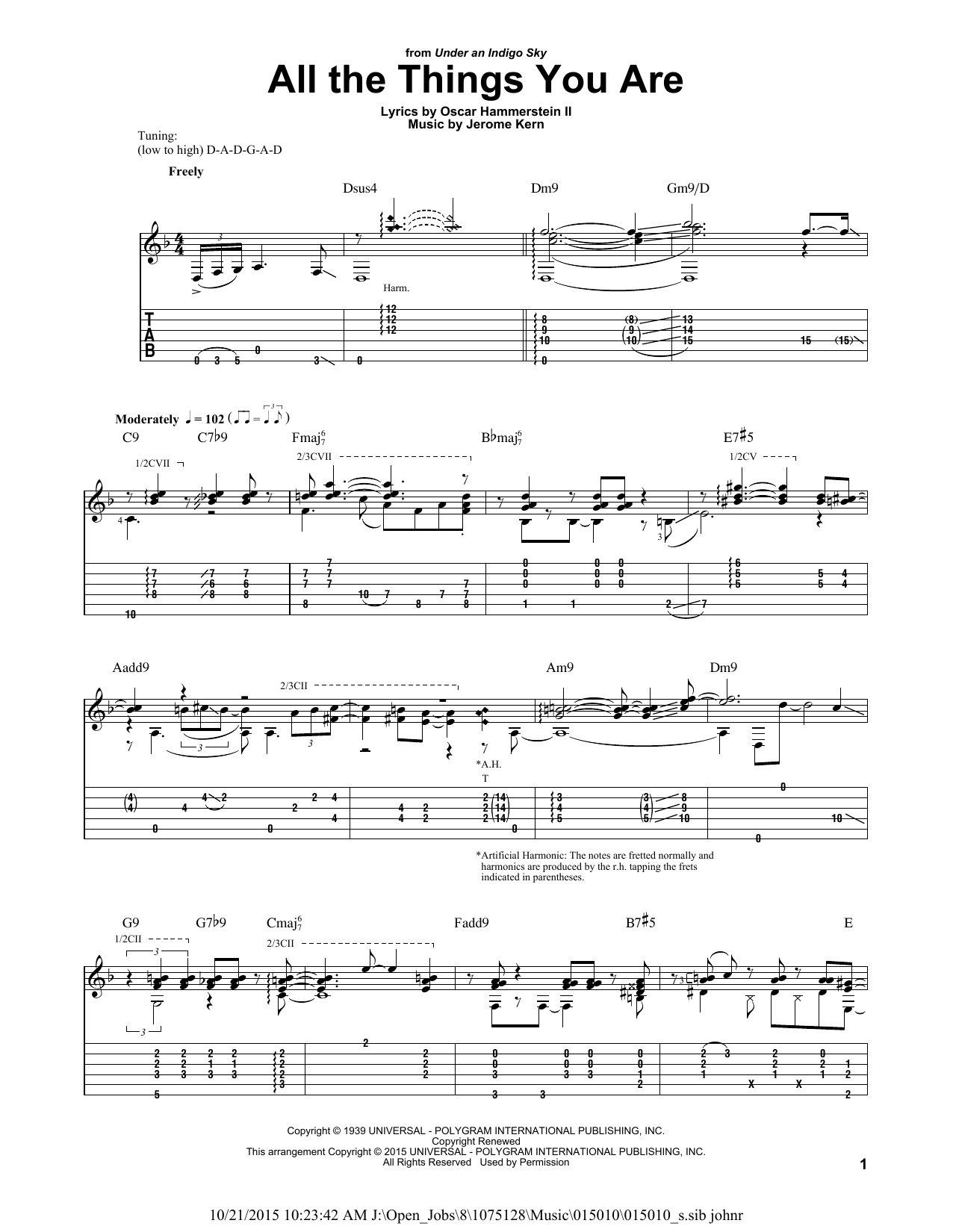 Tablature guitare All The Things You Are de Rodgers & Hammerstein - Tablature Guitare