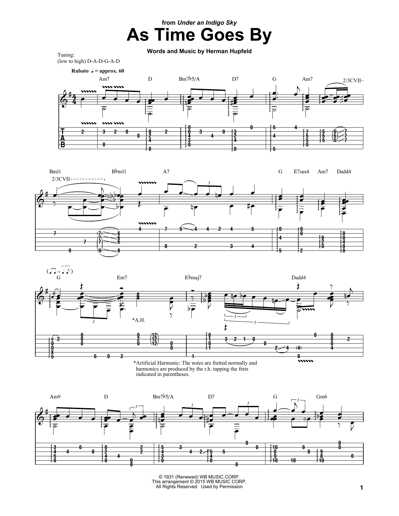 Tablature guitare As Time Goes By de Laurence Juber - Tablature Guitare