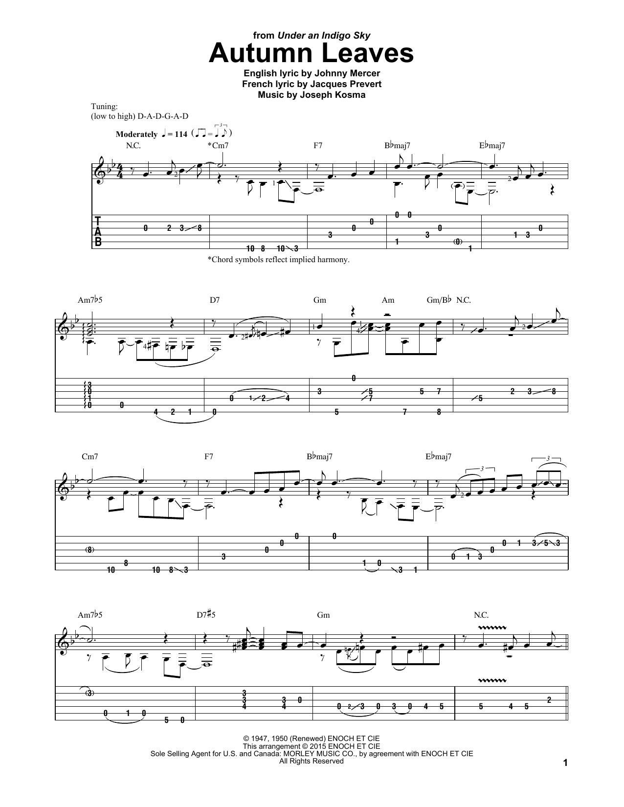 Autumn Leaves Sheet Music Laurence Juber Guitar Tab