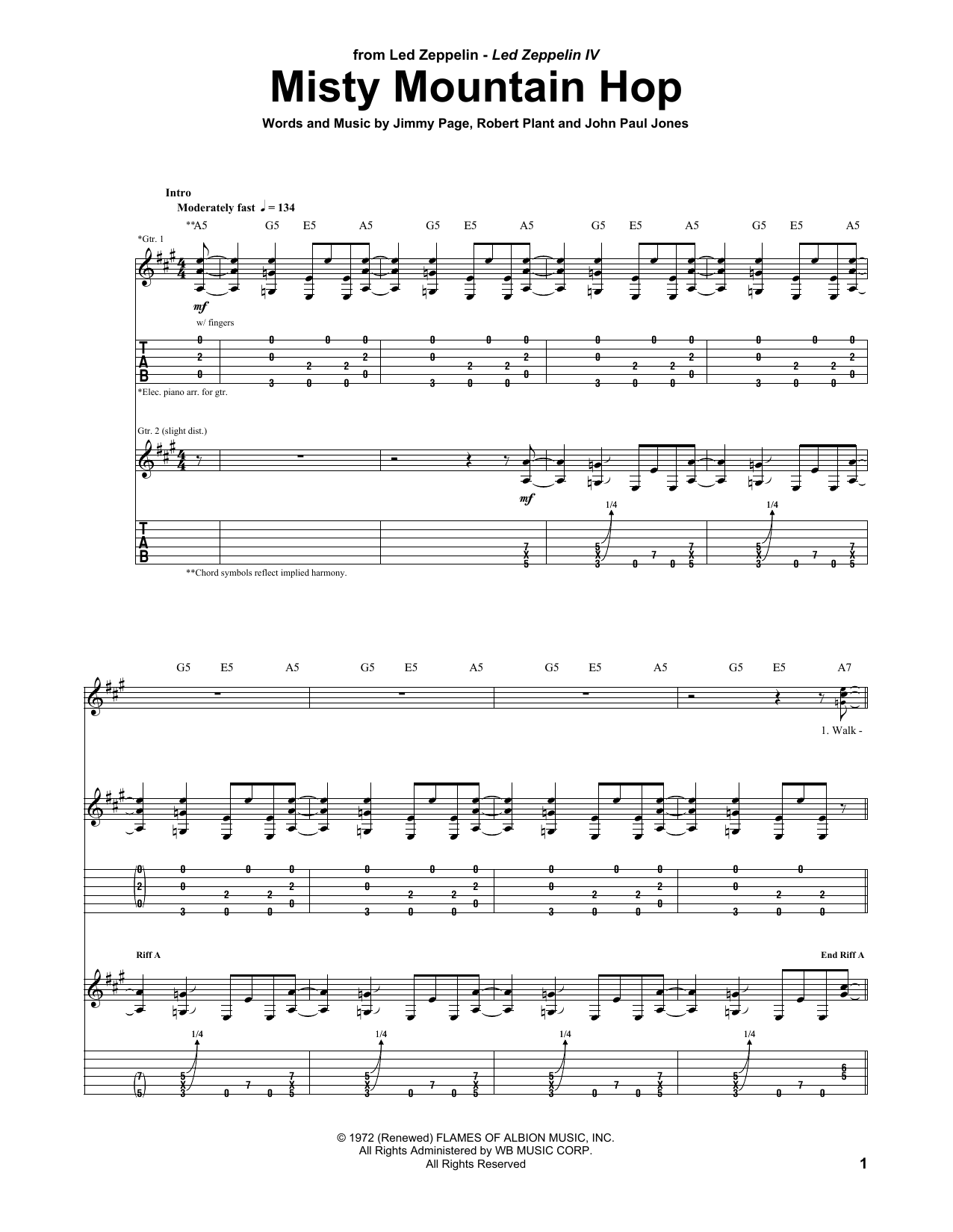 Tablature guitare Misty Mountain Hop de Led Zeppelin - Tablature Guitare